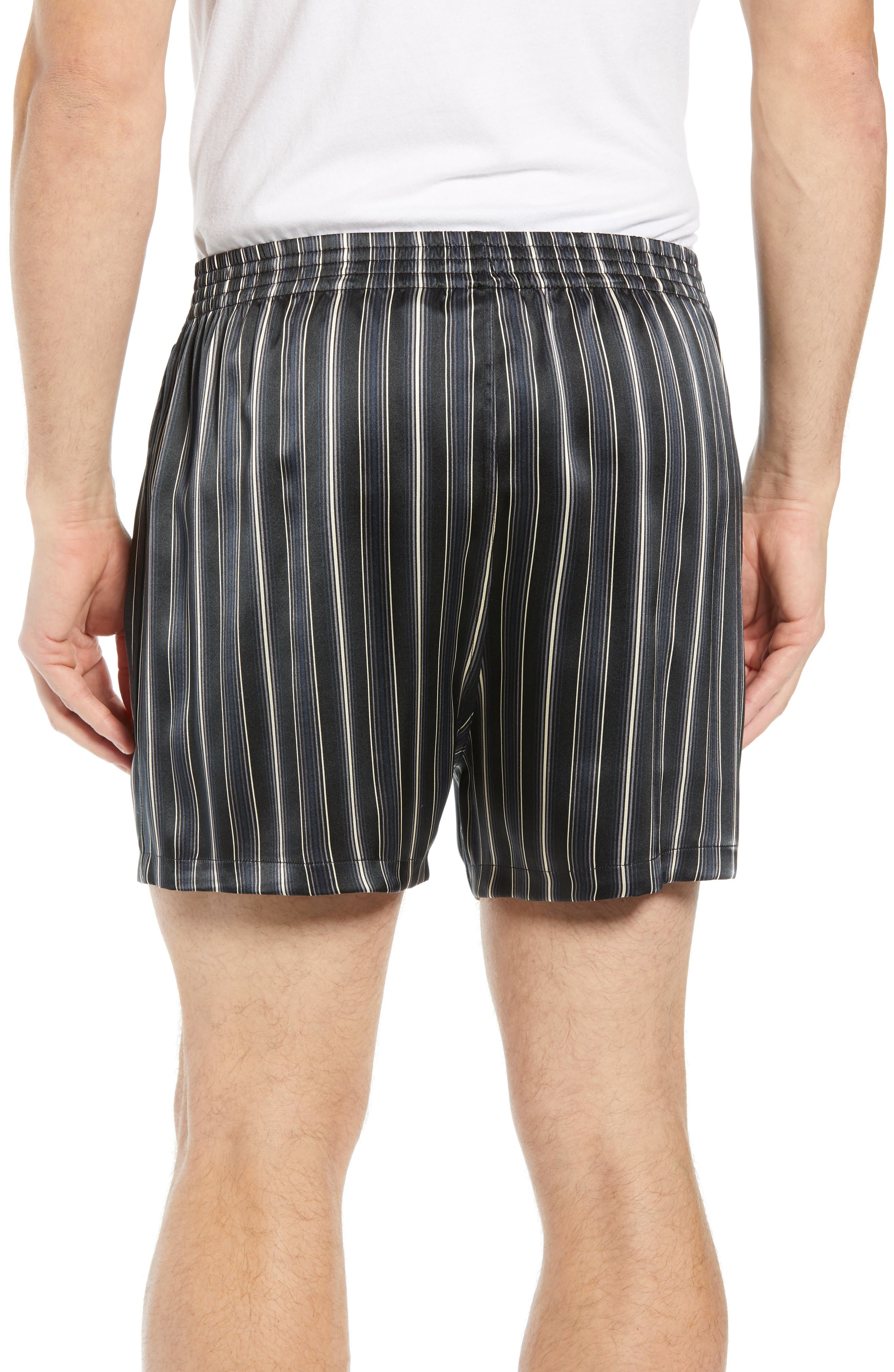 MAJESTIC INTERNATIONAL, Fresh Ink Stripe Silk Boxers, Alternate thumbnail 2, color, FOG