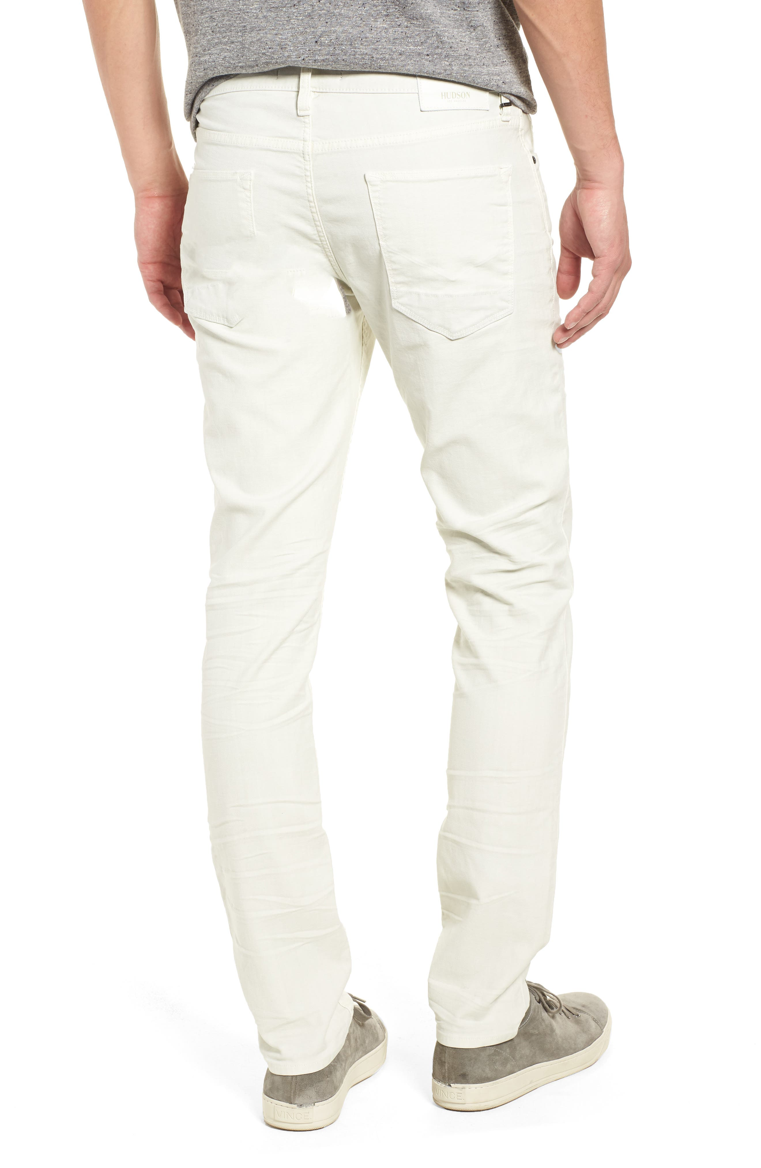 HUDSON JEANS, Axl Skinny Fit Jeans, Alternate thumbnail 2, color, DIRTY WHITE