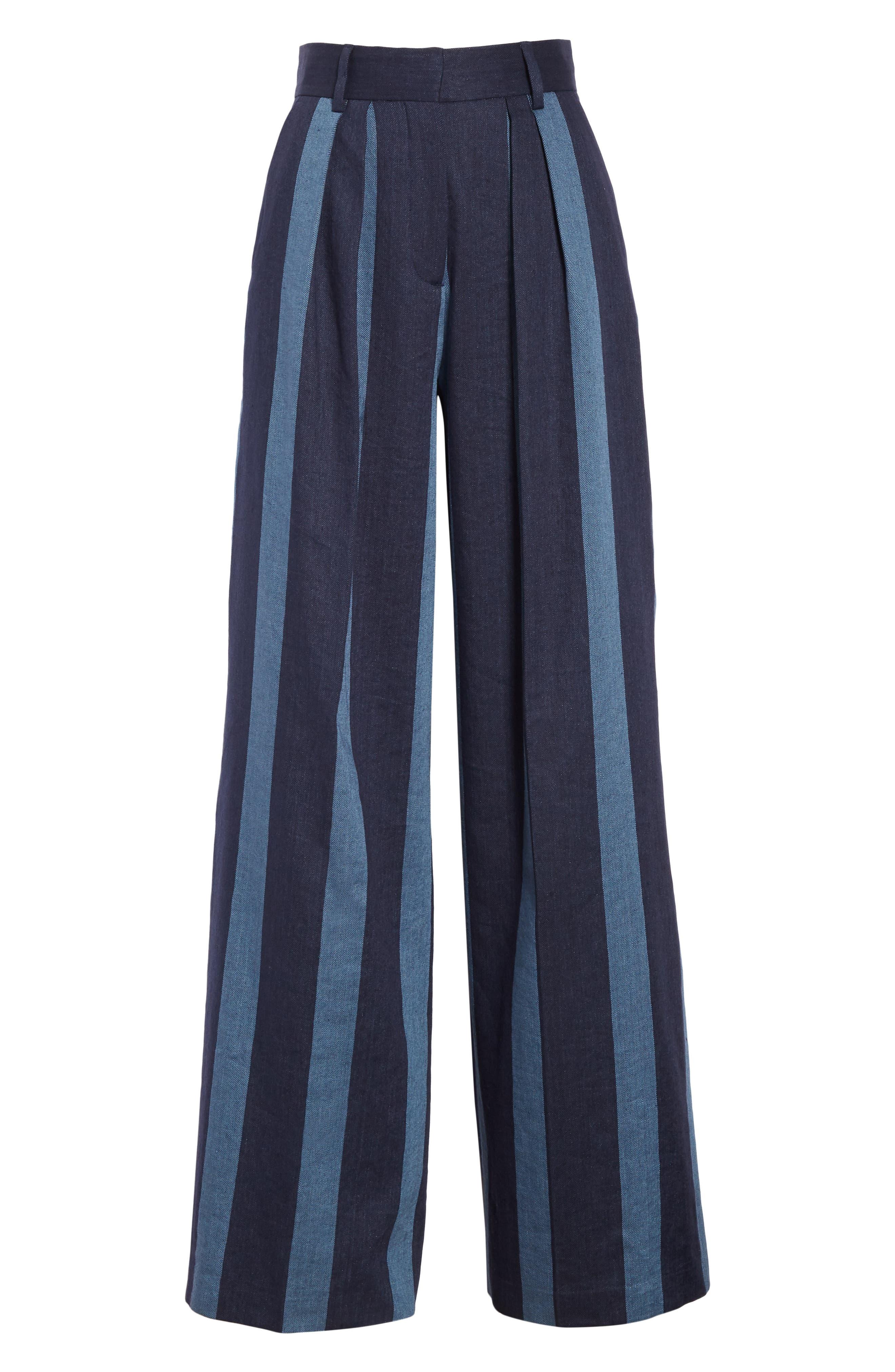 TOMMY X ZENDAYA, Stripe Denim Pants, Alternate thumbnail 7, color, STRIPED DENIM