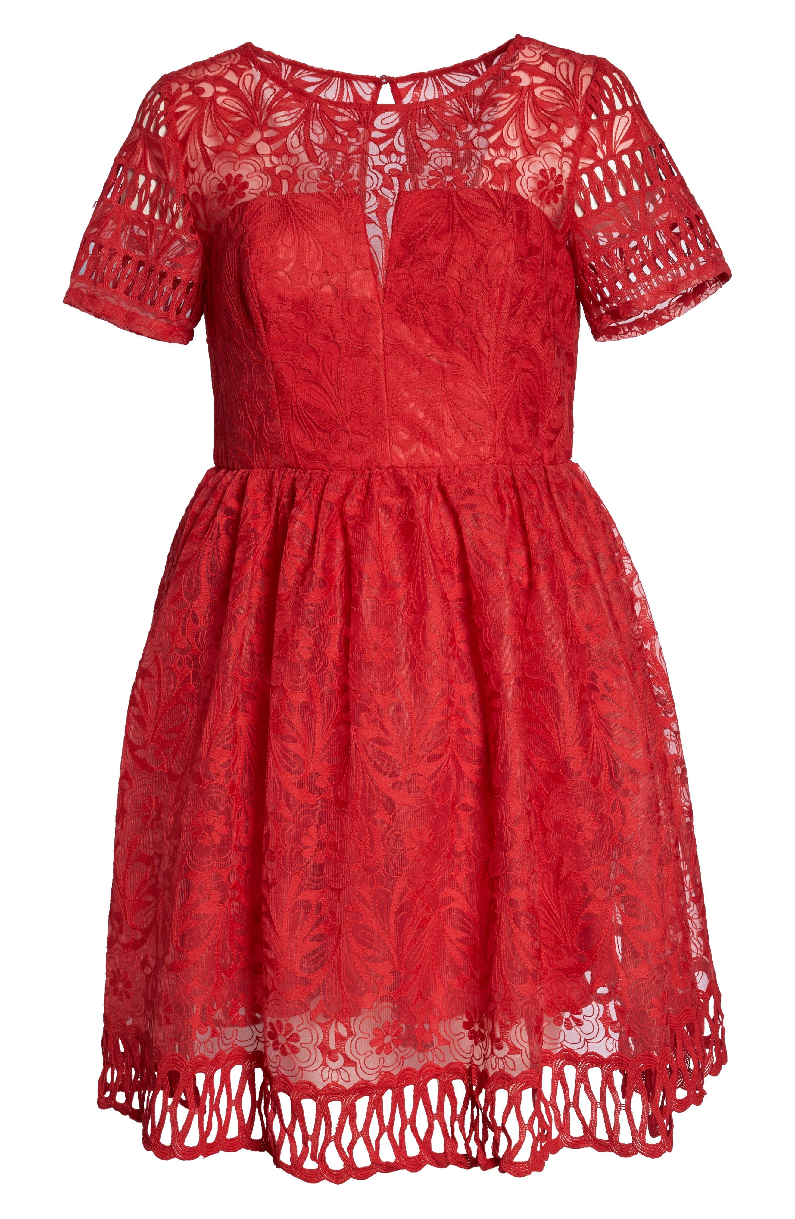 CHI CHI LONDON, Crochet Dress, Alternate thumbnail 7, color, RED