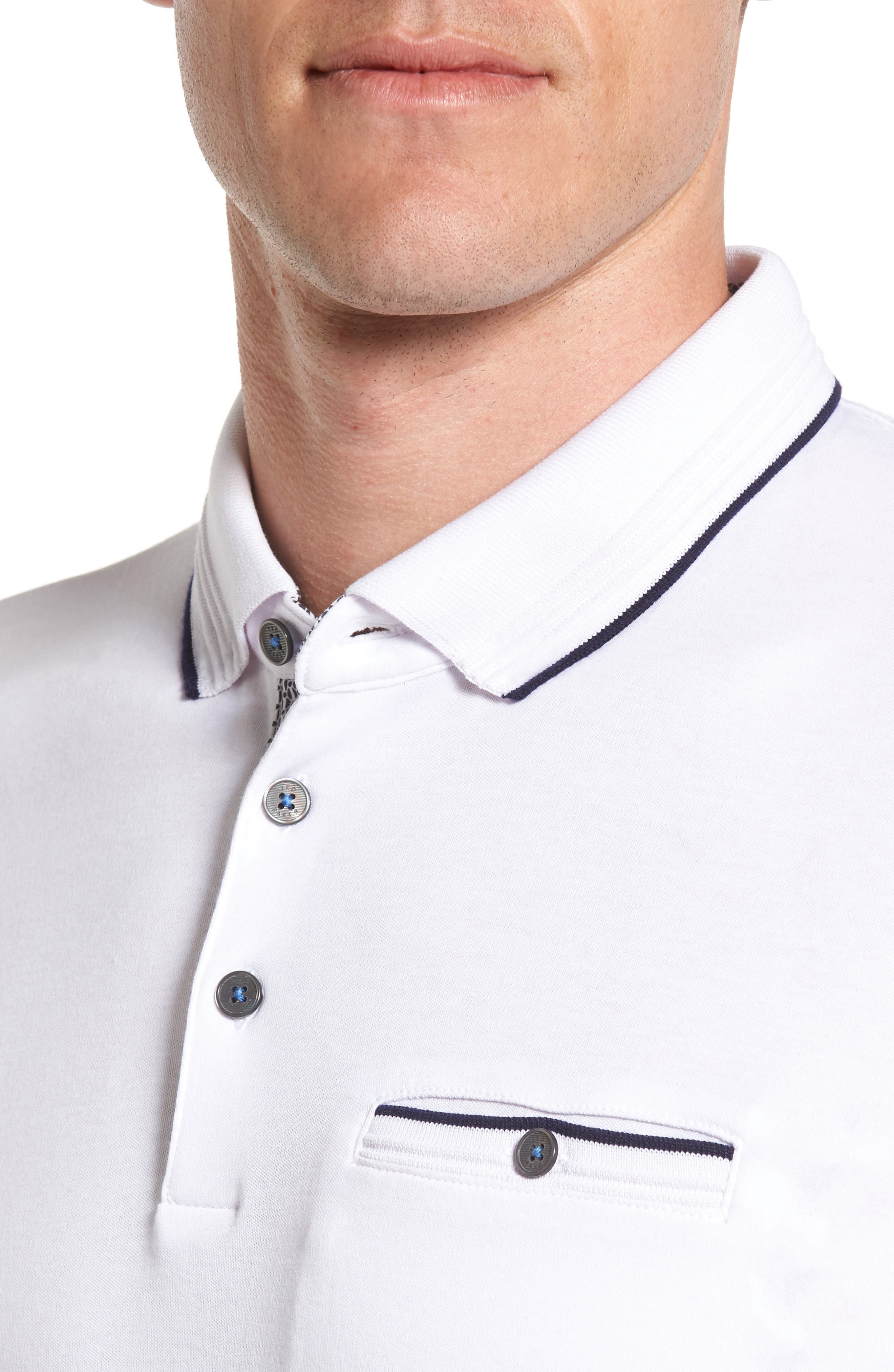 TED BAKER LONDON, Derry Modern Slim Fit Polo, Alternate thumbnail 4, color, WHITE