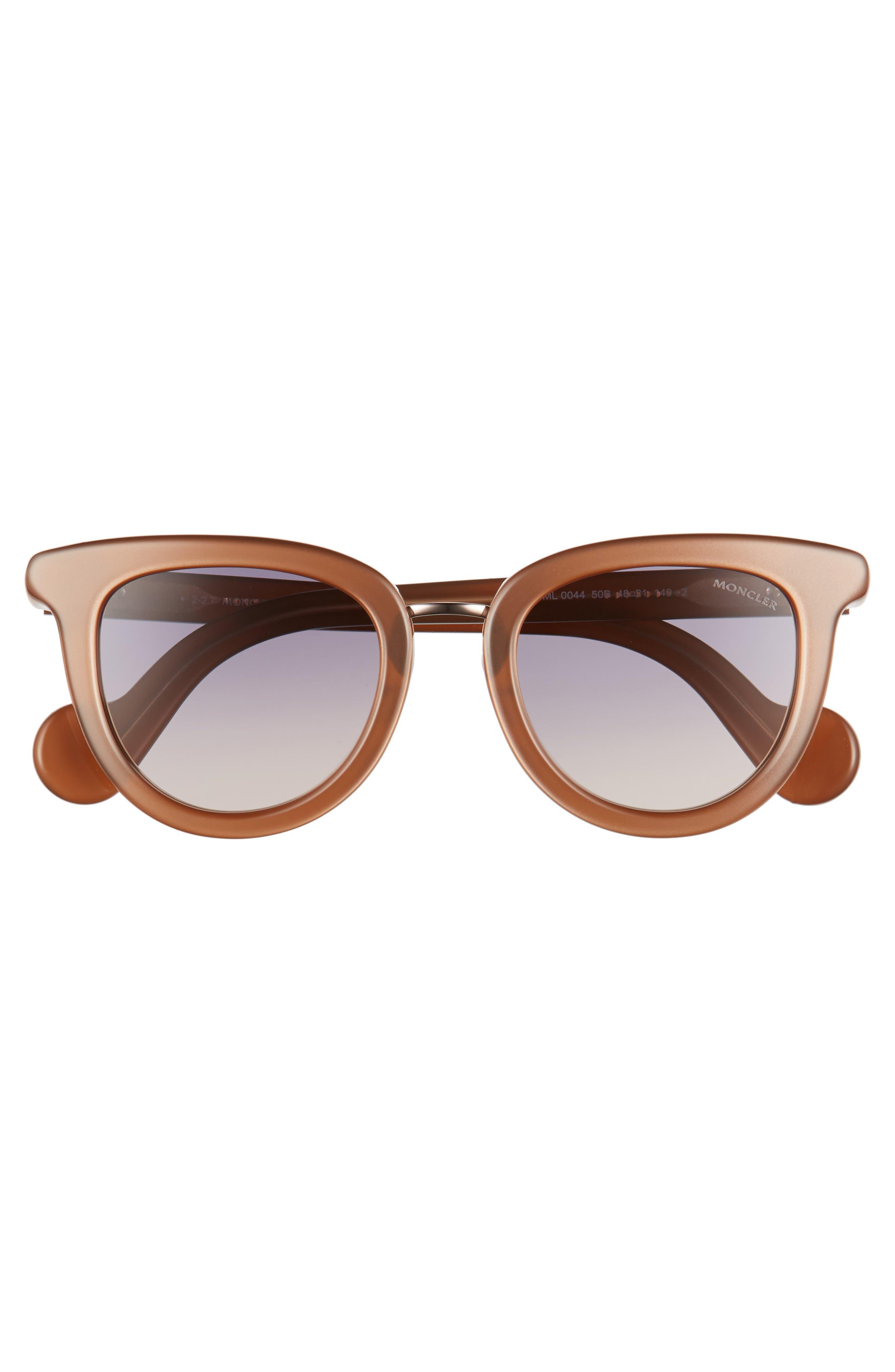 MONCLER, 48mm Cat Eye Sunglasses, Alternate thumbnail 3, color, PEARL BROWN/ GREY/ SAND