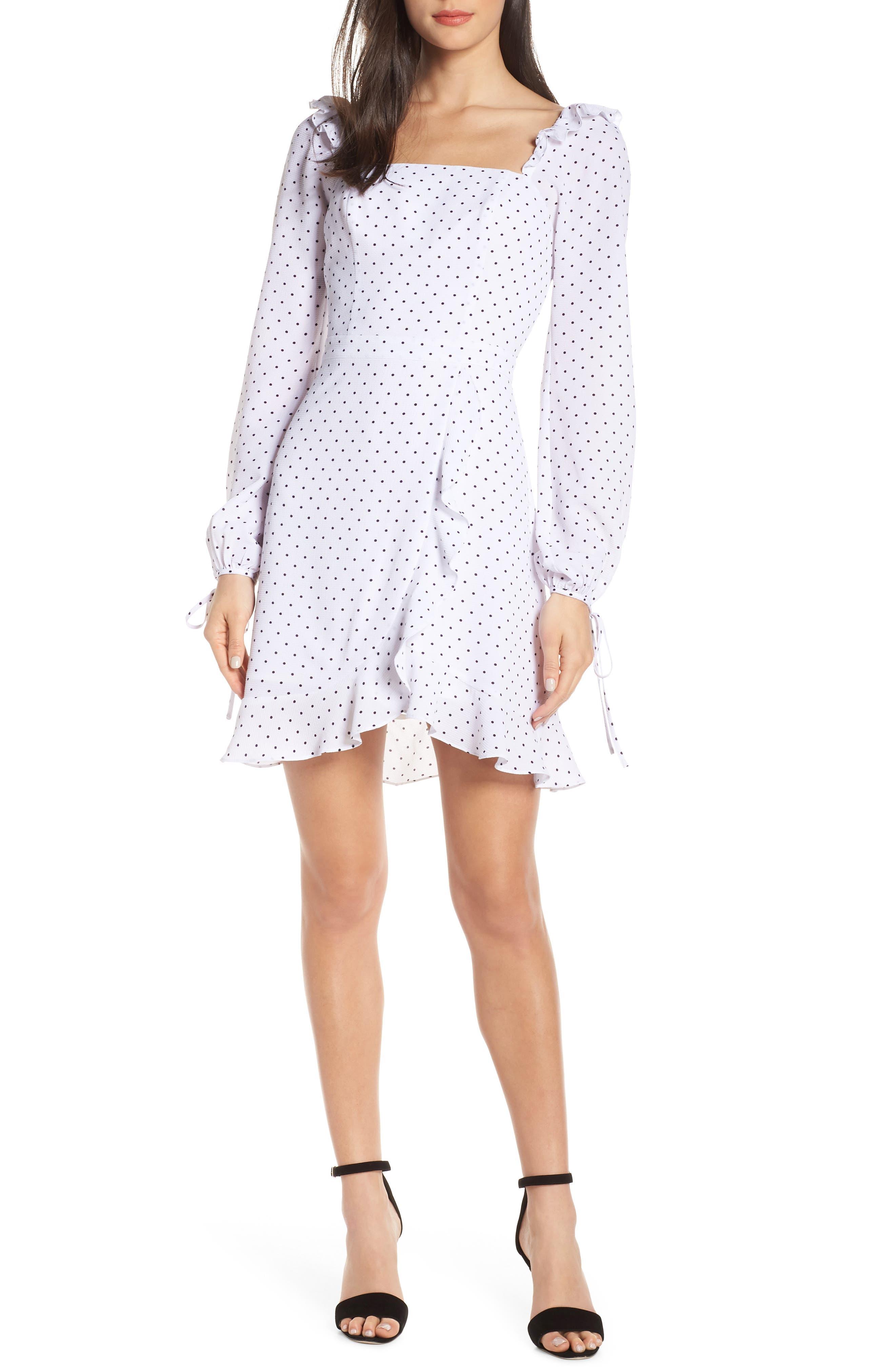 ALI & JAY In Bloom Polka Dot Asymmetrical Dress, Main, color, 100
