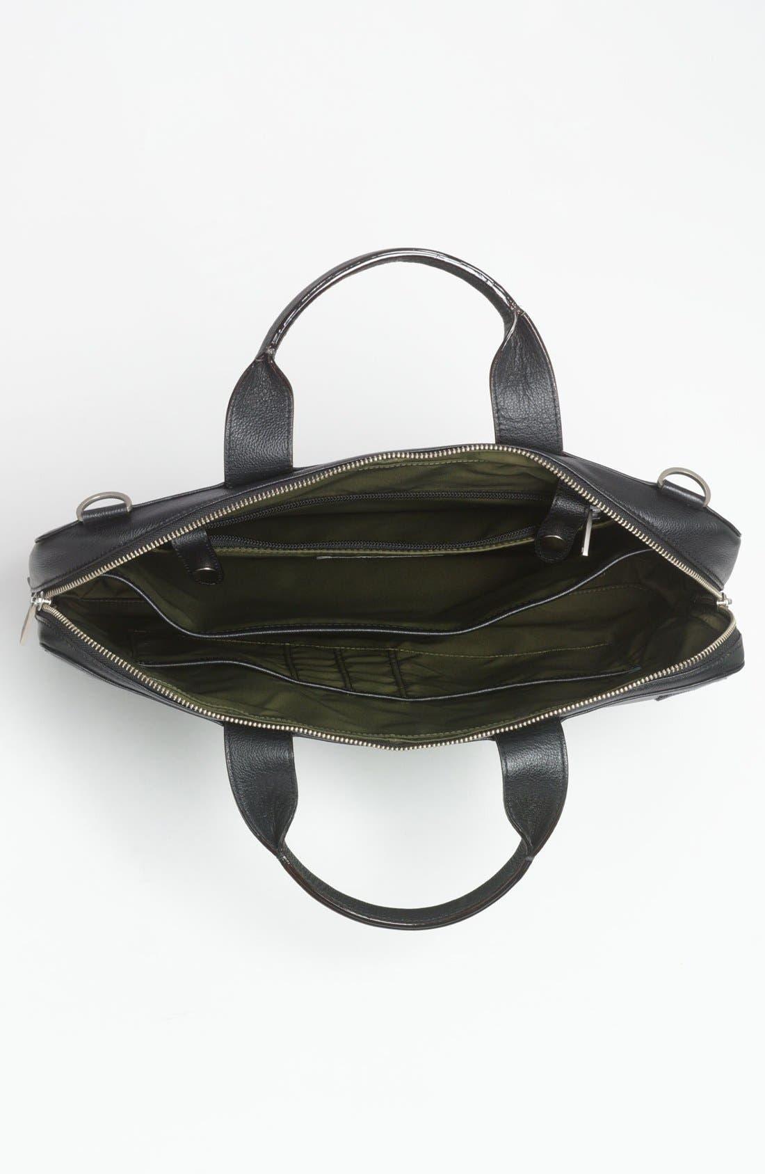 JACK SPADE, Slim Leather Briefcase, Alternate thumbnail 3, color, 001