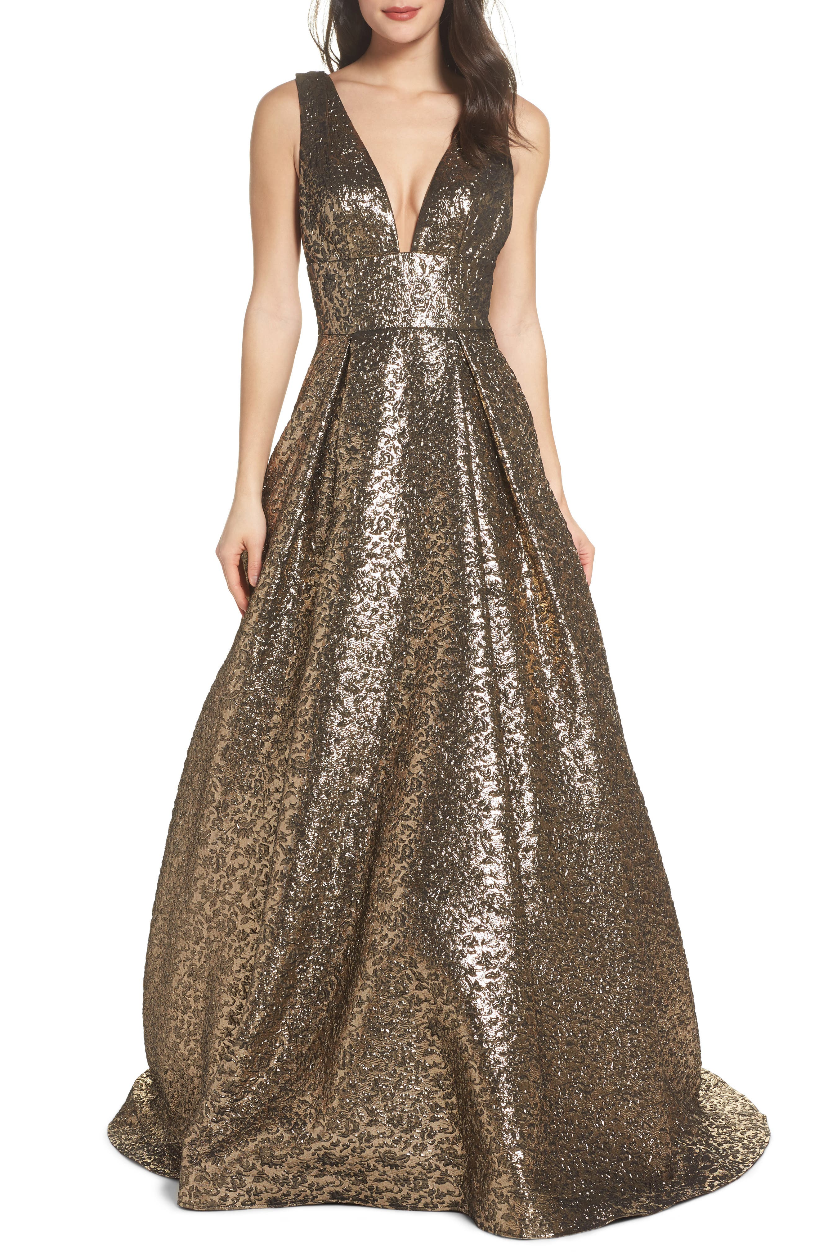 MAC DUGGAL, Metallic Jacquard Ballgown, Main thumbnail 1, color, ANTIQUE GOLD