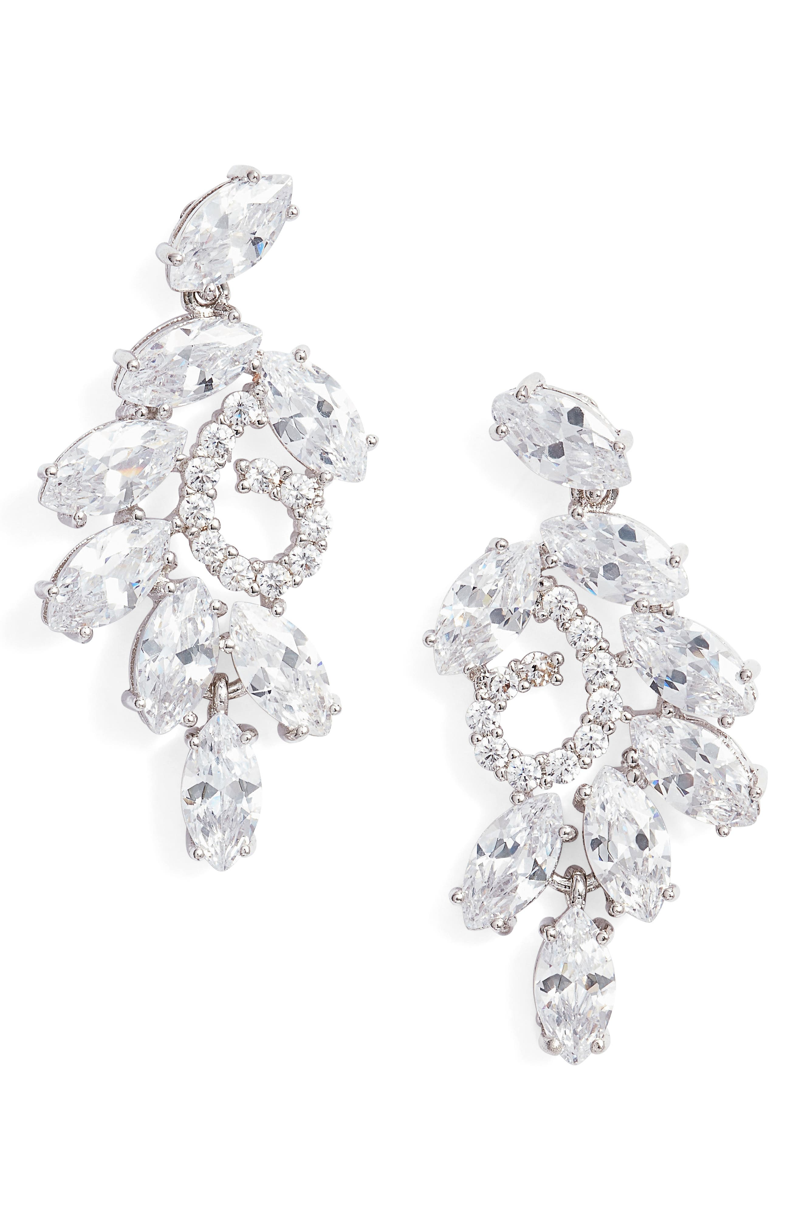 NINA, Cluster Branch Stud Earrings, Main thumbnail 1, color, SILVER/ WHITE CZ