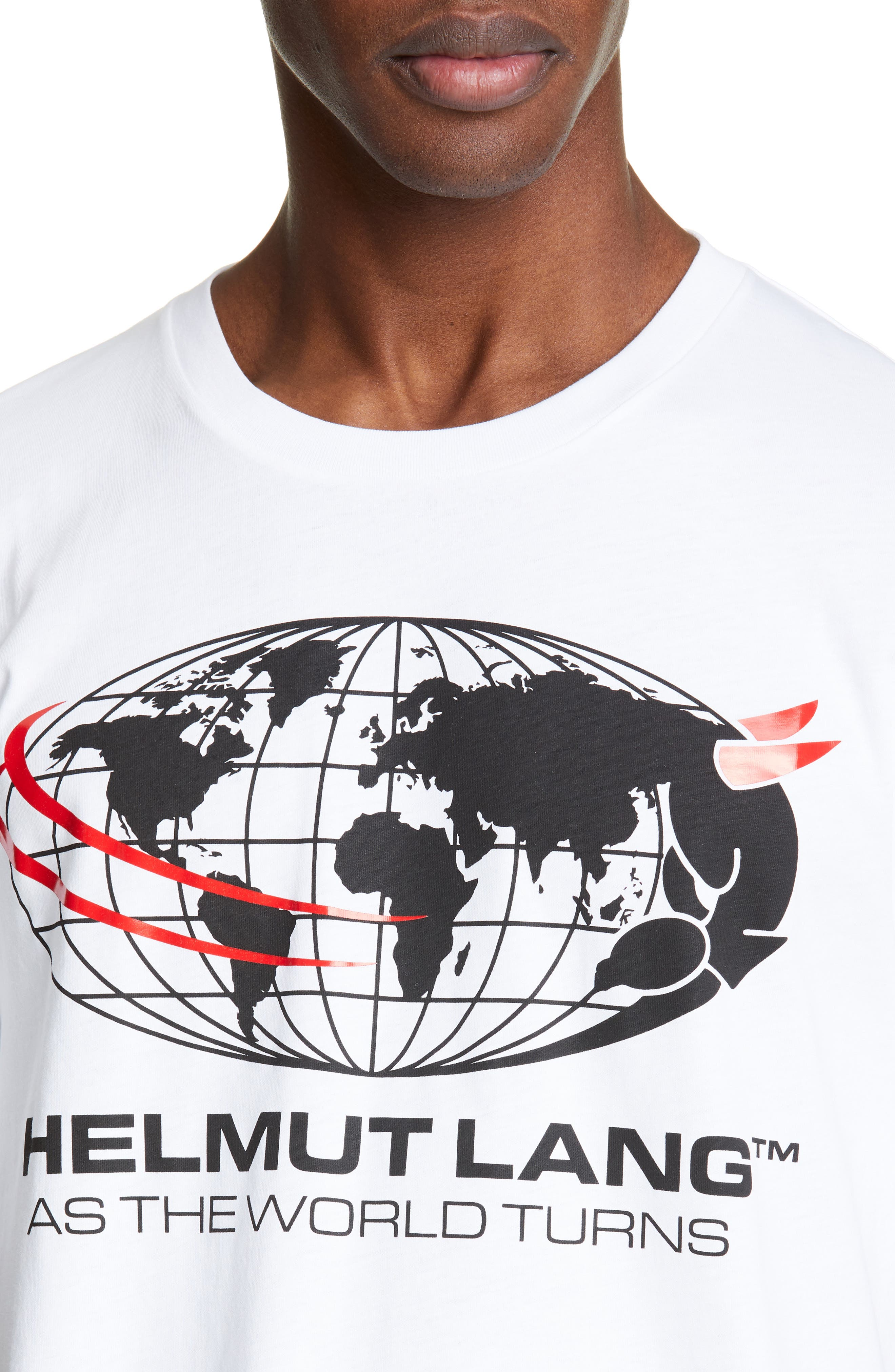 HELMUT LANG, World Turns Graphic T-Shirt, Alternate thumbnail 4, color, CHALK WHITE