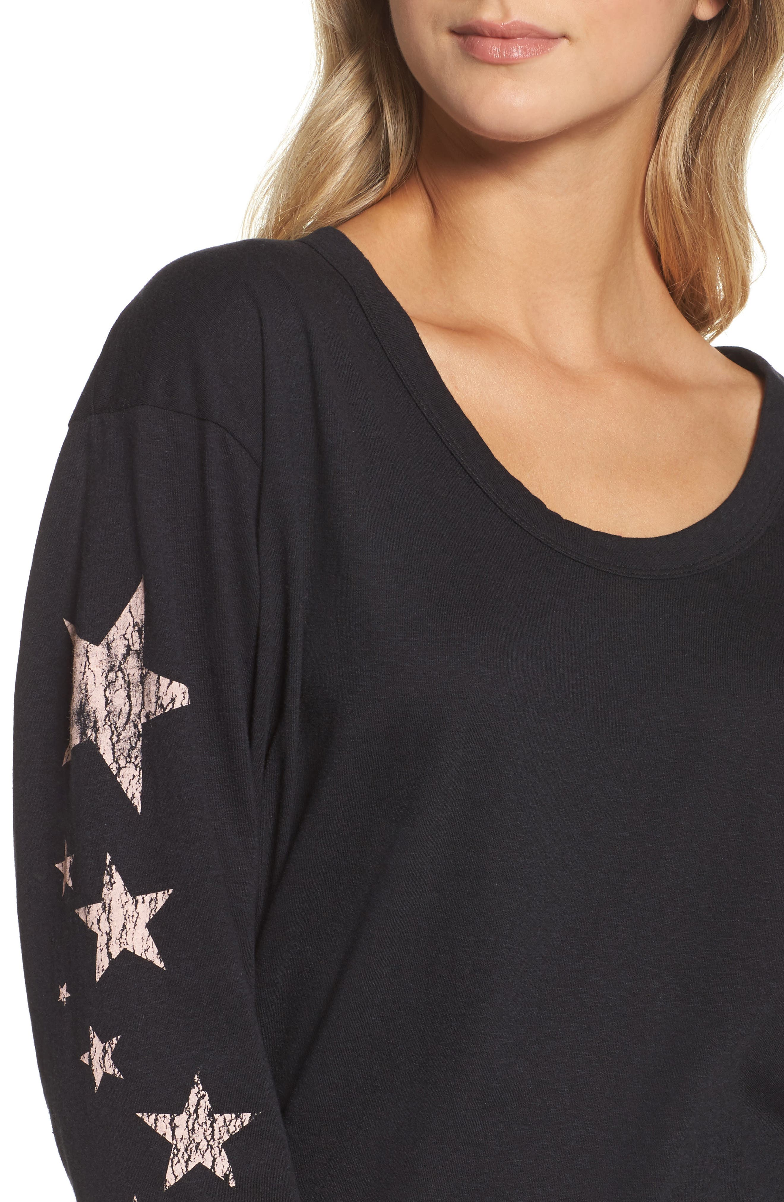 FREE PEOPLE MOVEMENT, Melrose Star Graphic Top, Alternate thumbnail 4, color, 001
