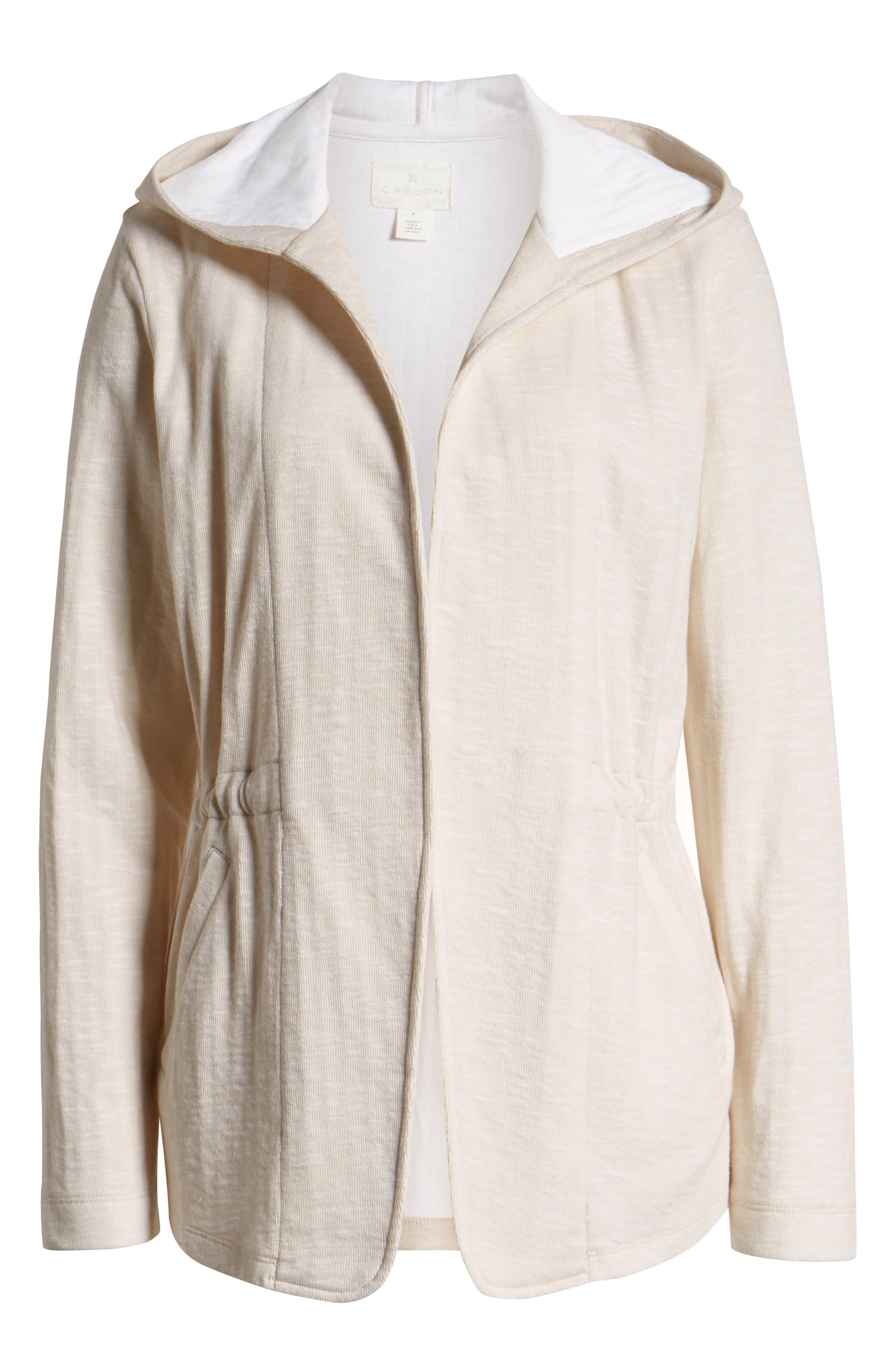 CASLON<SUP>®</SUP>, Open Front Hooded Cardigan, Alternate thumbnail 6, color, BEIGE- WHITE SPACEDYE