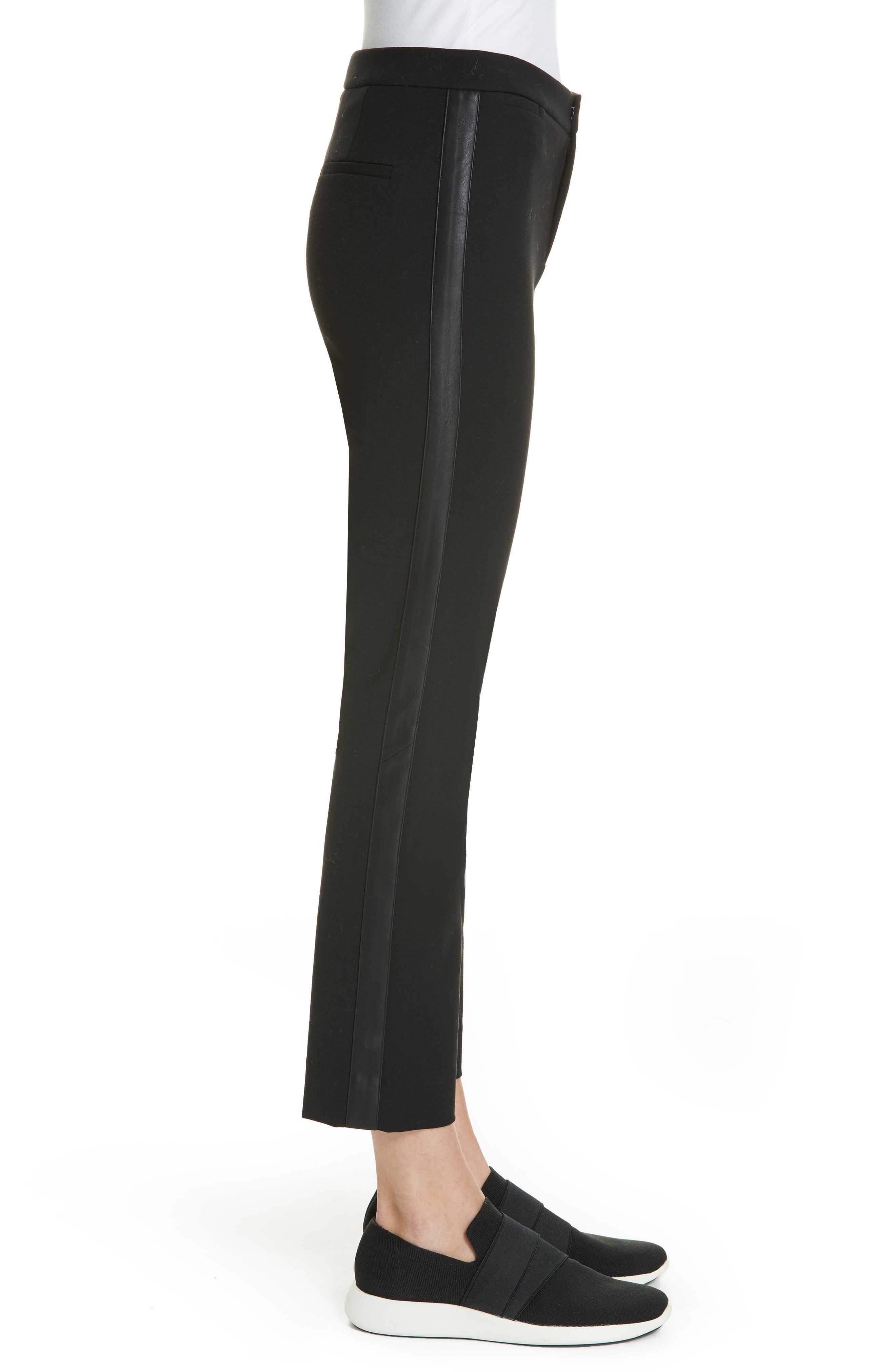 VINCE, Faux Leather Side Stripe Trousers, Alternate thumbnail 3, color, BLACK