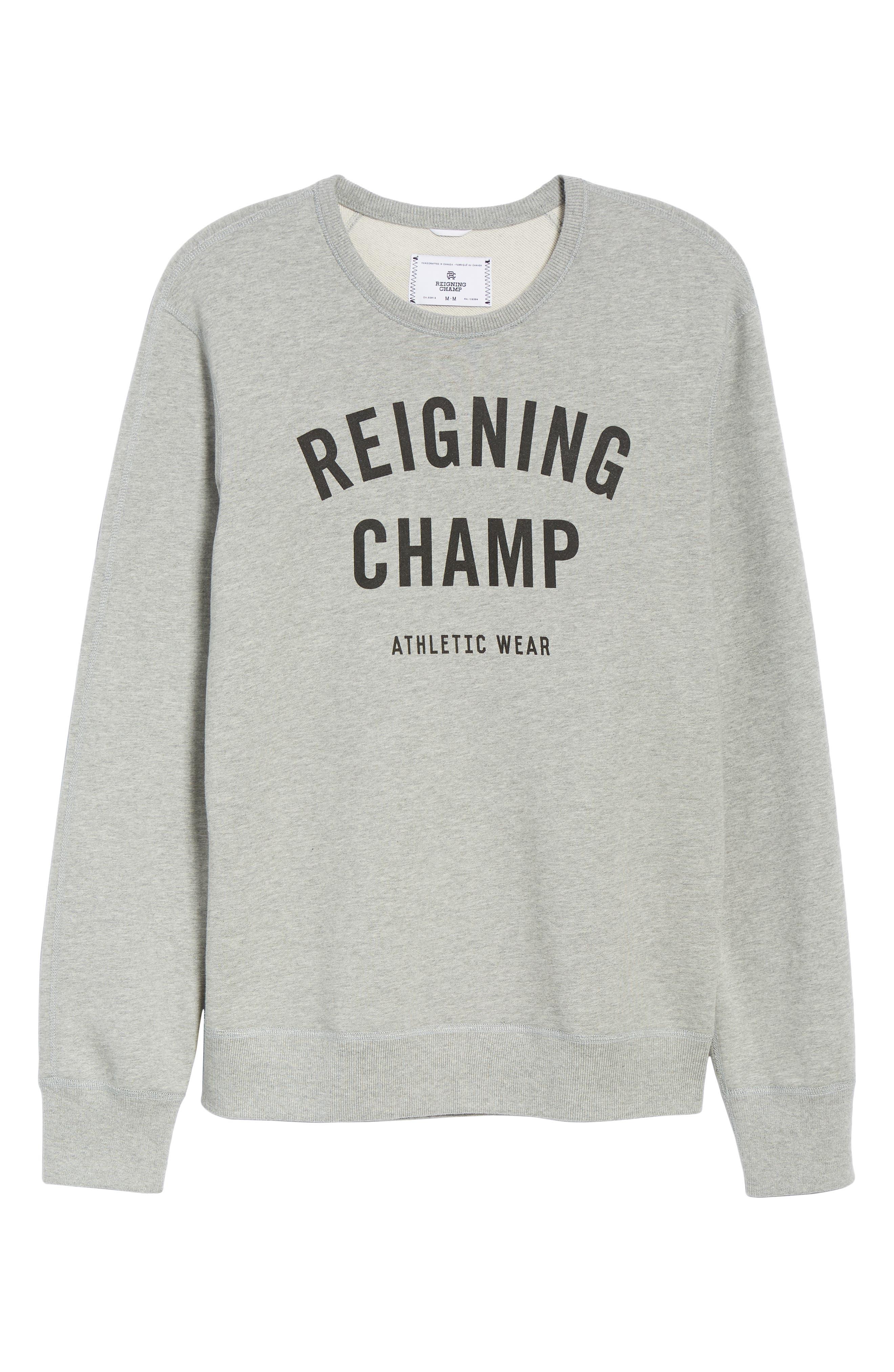 REIGNING CHAMP, Gym Logo Sweatshirt, Alternate thumbnail 6, color, HEATHER GREY/ BLACK
