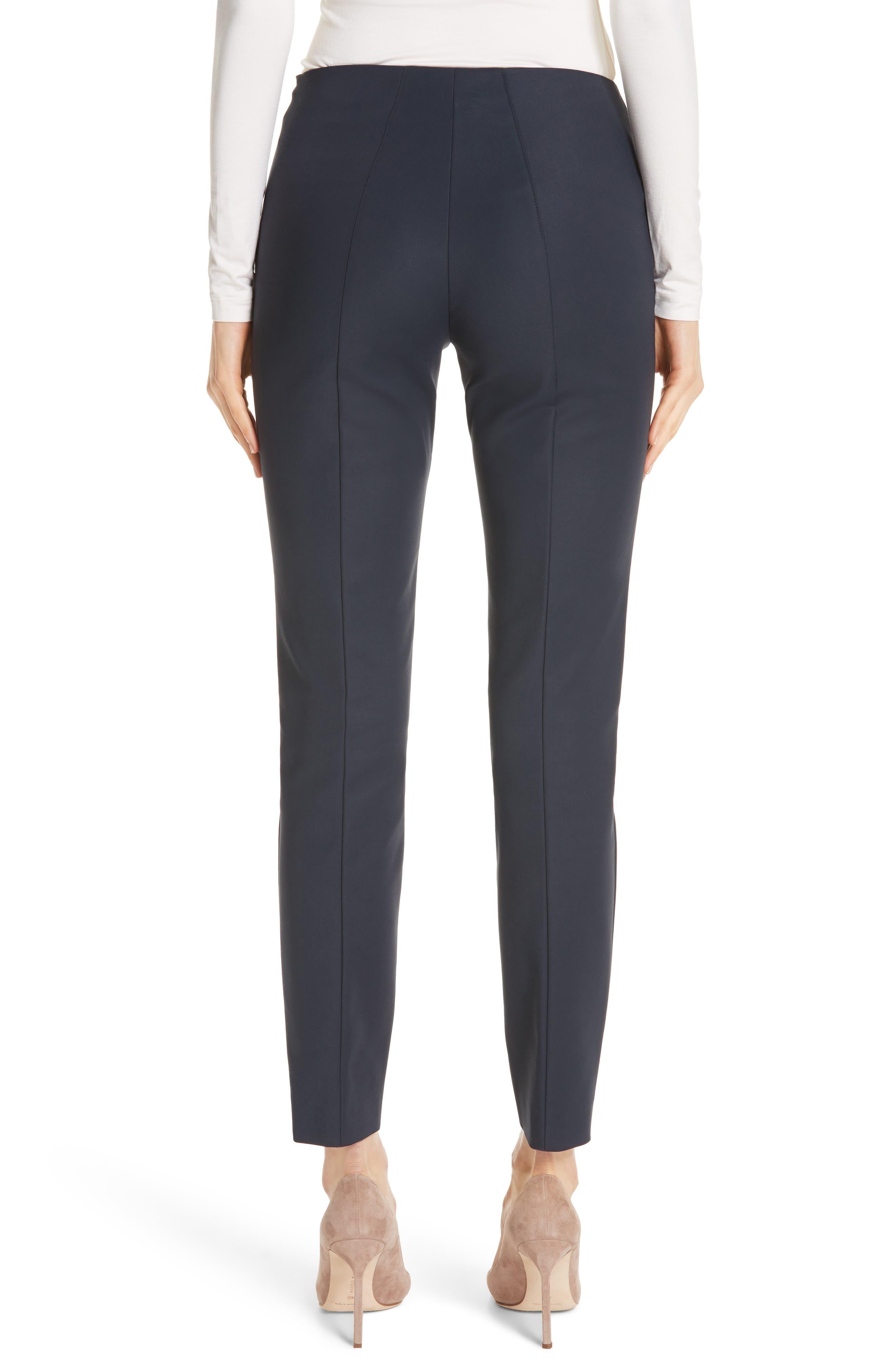 AKRIS, 'Melissa' Slim Techno Cotton Ankle Pants, Alternate thumbnail 2, color, NAVY