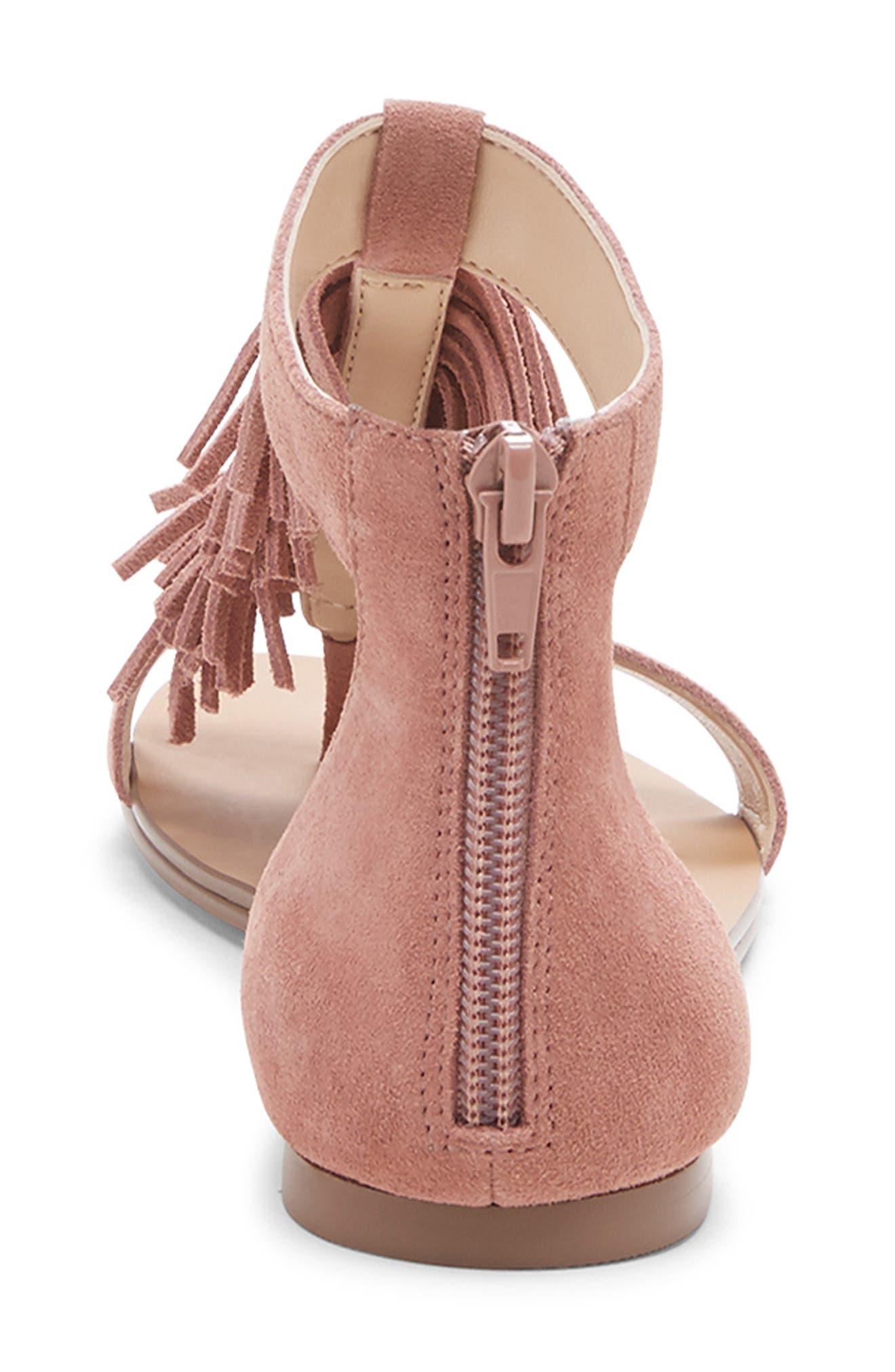 SOLE SOCIETY, 'Koa' Fringe T-Strap Flat Sandal, Alternate thumbnail 7, color, MOD MAUVE SUEDE