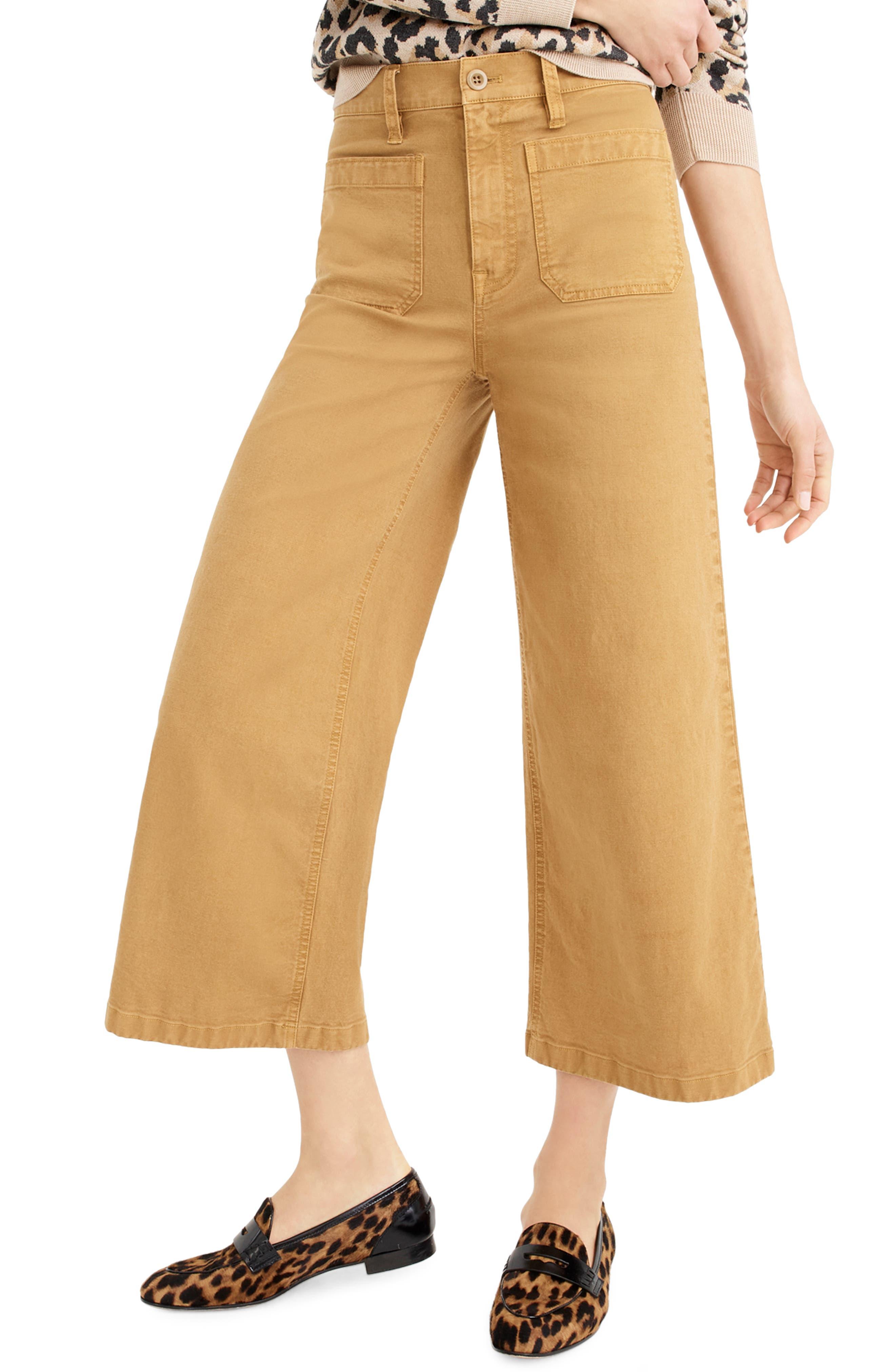 J.CREW, Point Sur Washed Wide Leg Crop Pants, Main thumbnail 1, color, CARAMEL