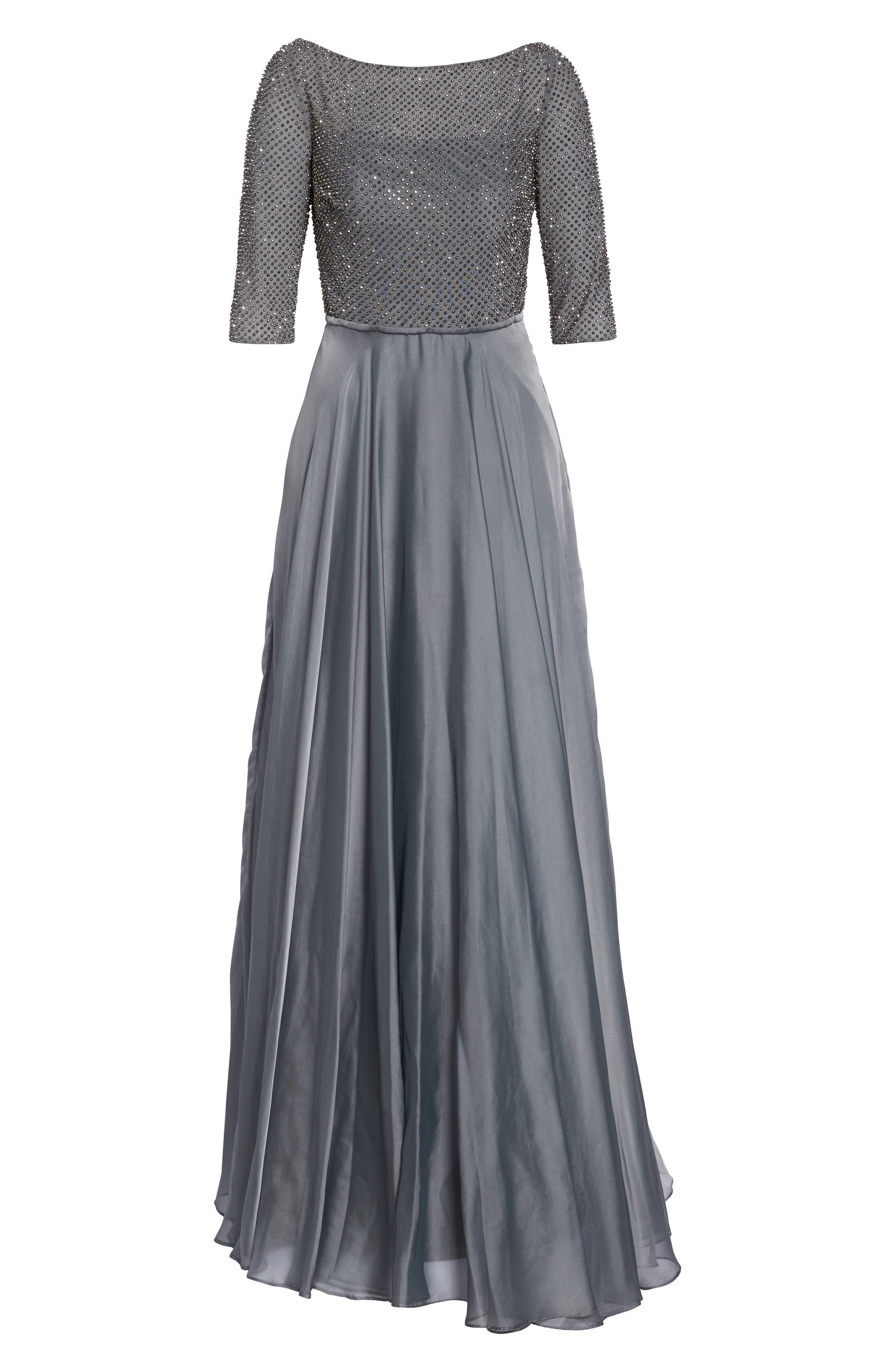 LA FEMME, Embellished Bodice Gown, Alternate thumbnail 6, color, PLATINUM