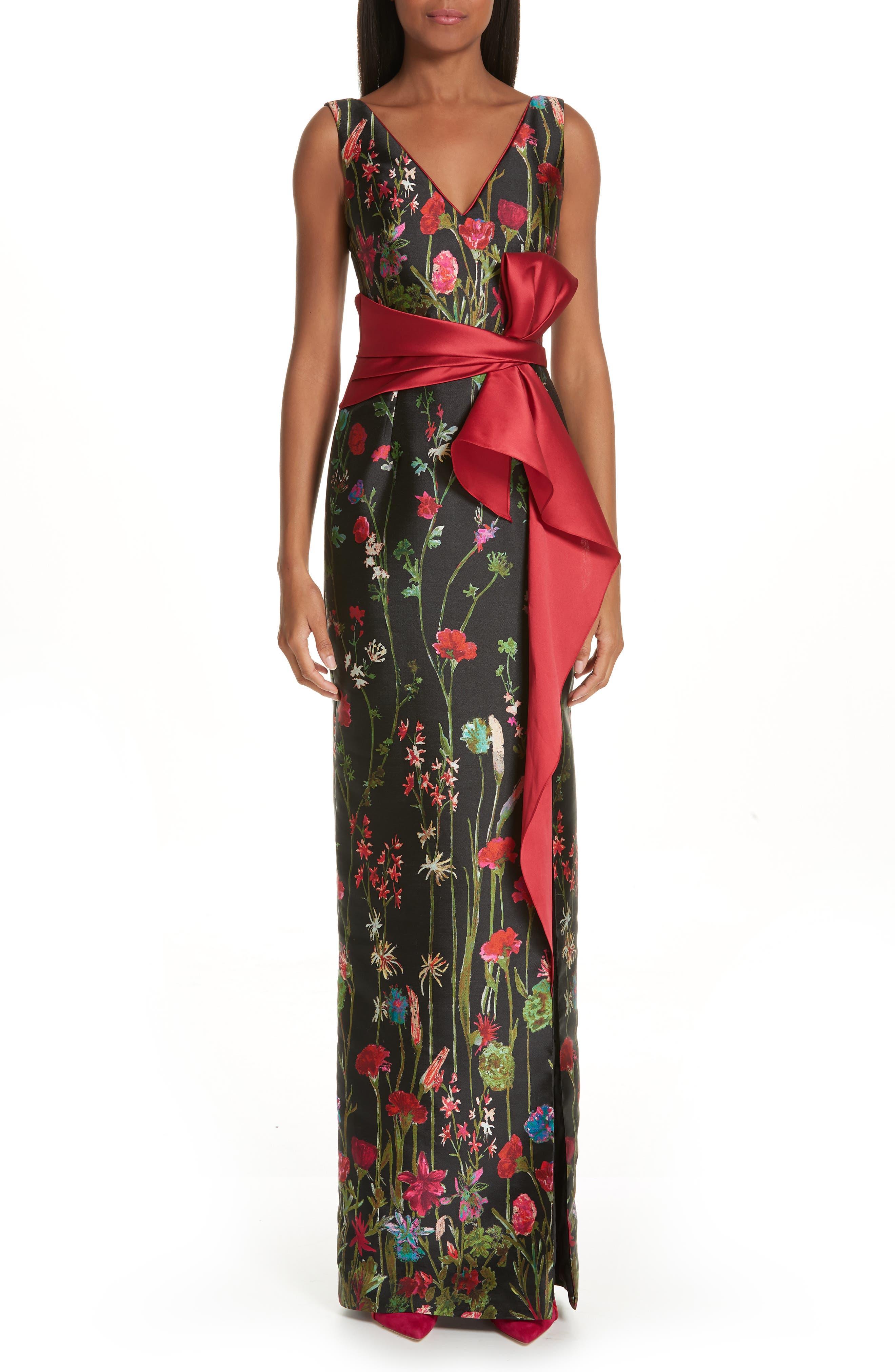 Marchesa Notte Bow Belt Floral Print Column Gown, Black