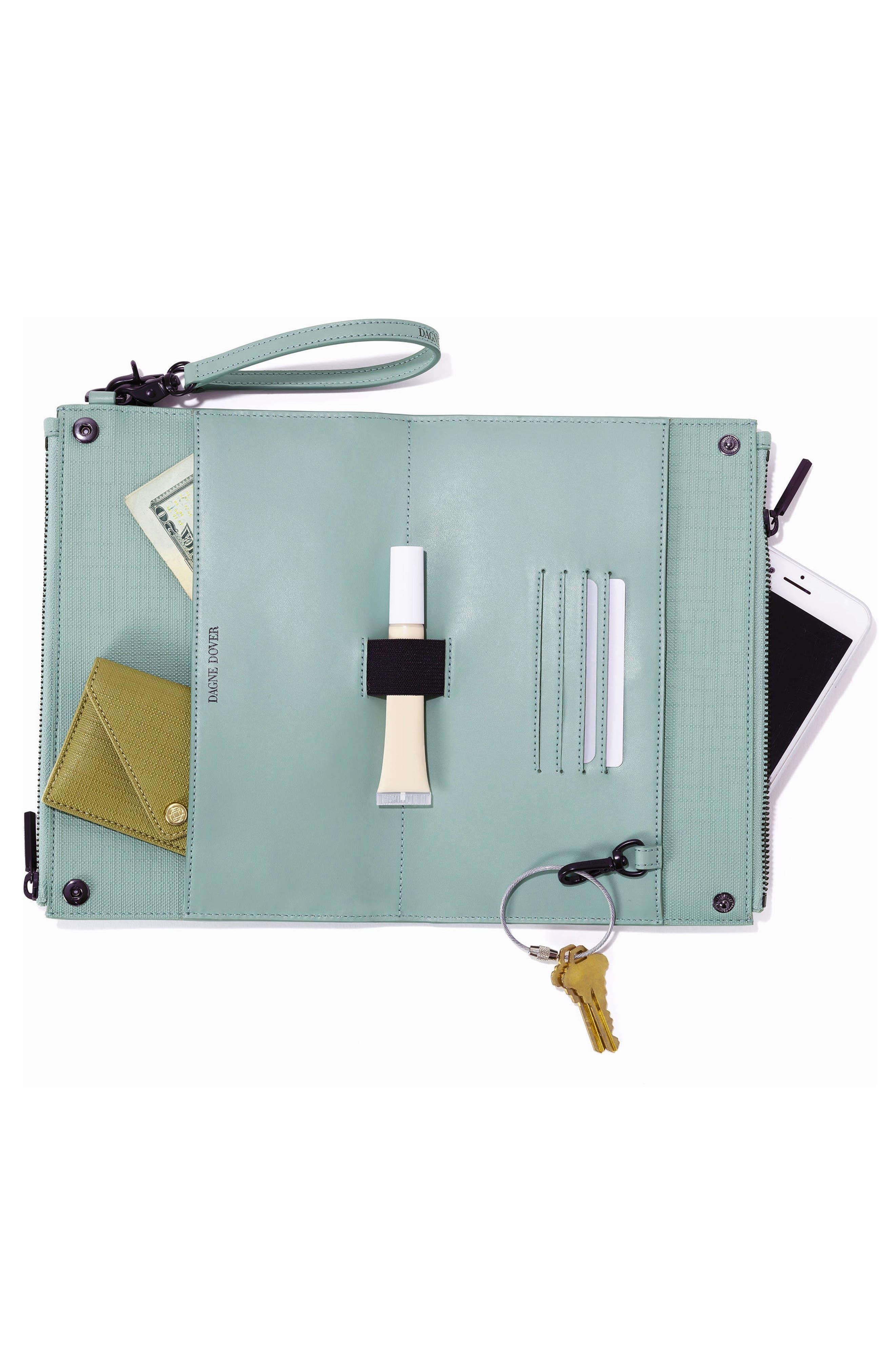 DAGNE DOVER, Signature Essentials Coated Canvas Clutch/Wallet, Alternate thumbnail 2, color, SEA MIST