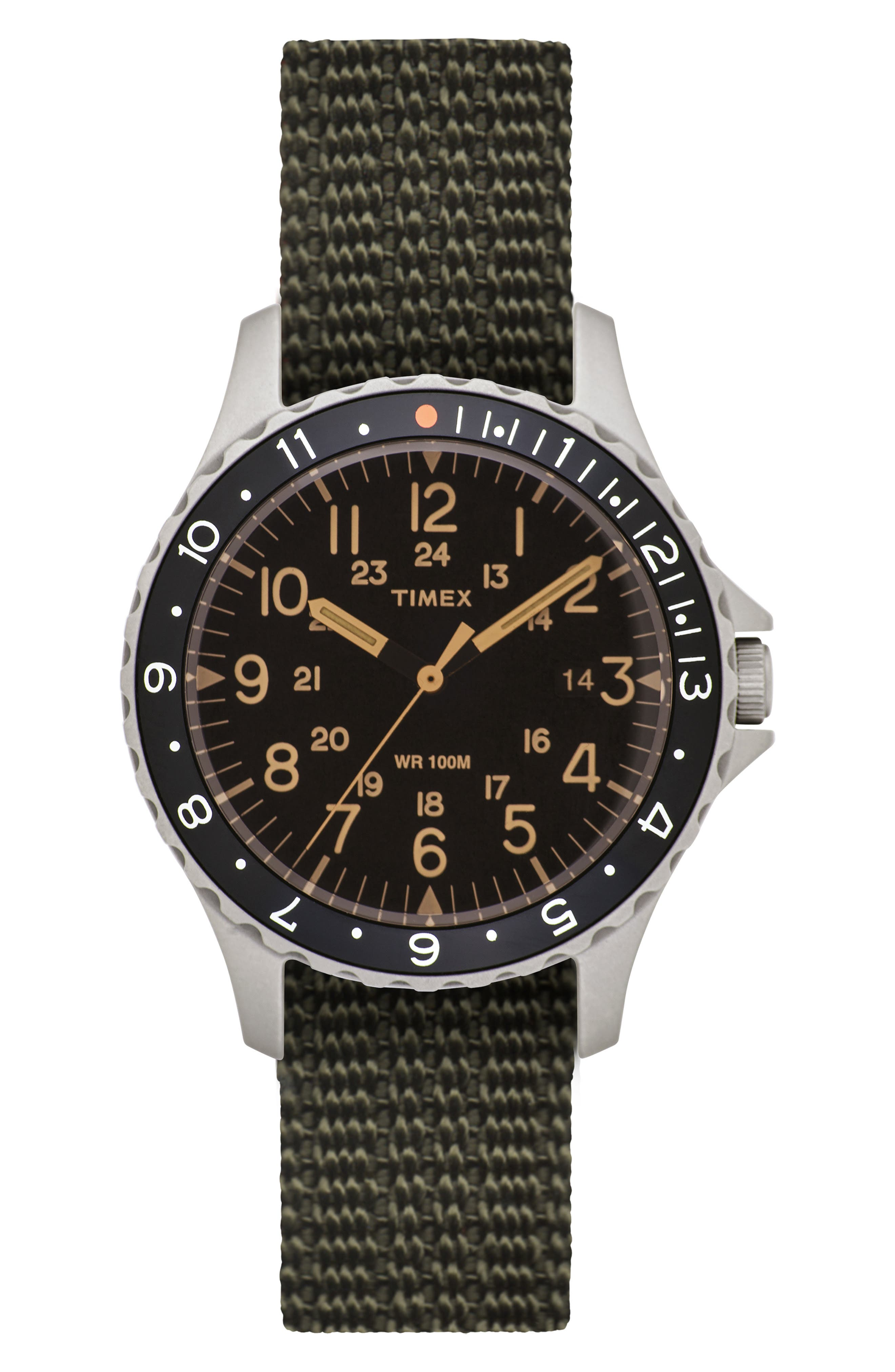 TIMEX<SUP>®</SUP> ARCHIVE, Navi Ocean Reversible NATO Strap Watch, 38mm, Main thumbnail 1, color, BLACK/ ORANGE/ WHITE