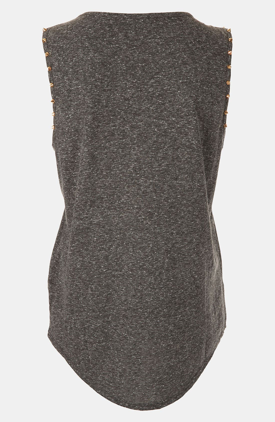 TOPSHOP, Stud Trim Tank, Alternate thumbnail 3, color, 020