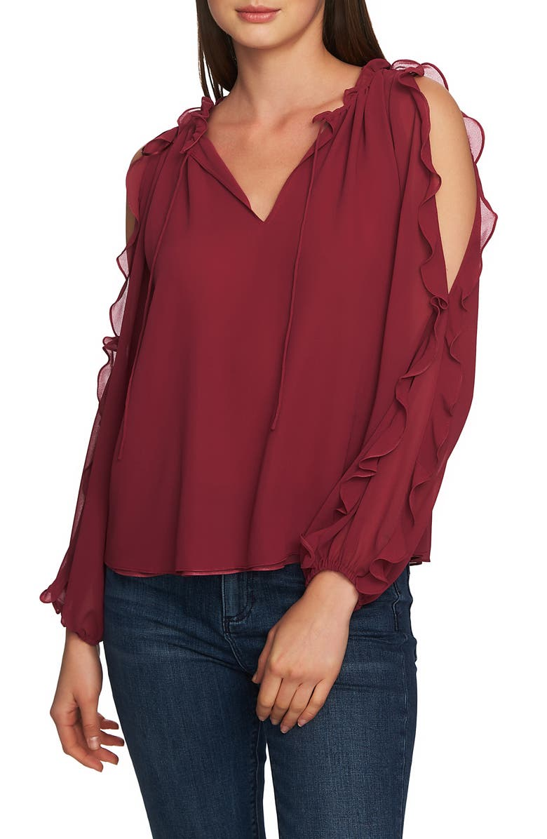 1.state Tops RUFFLE COLD SHOULDER TOP