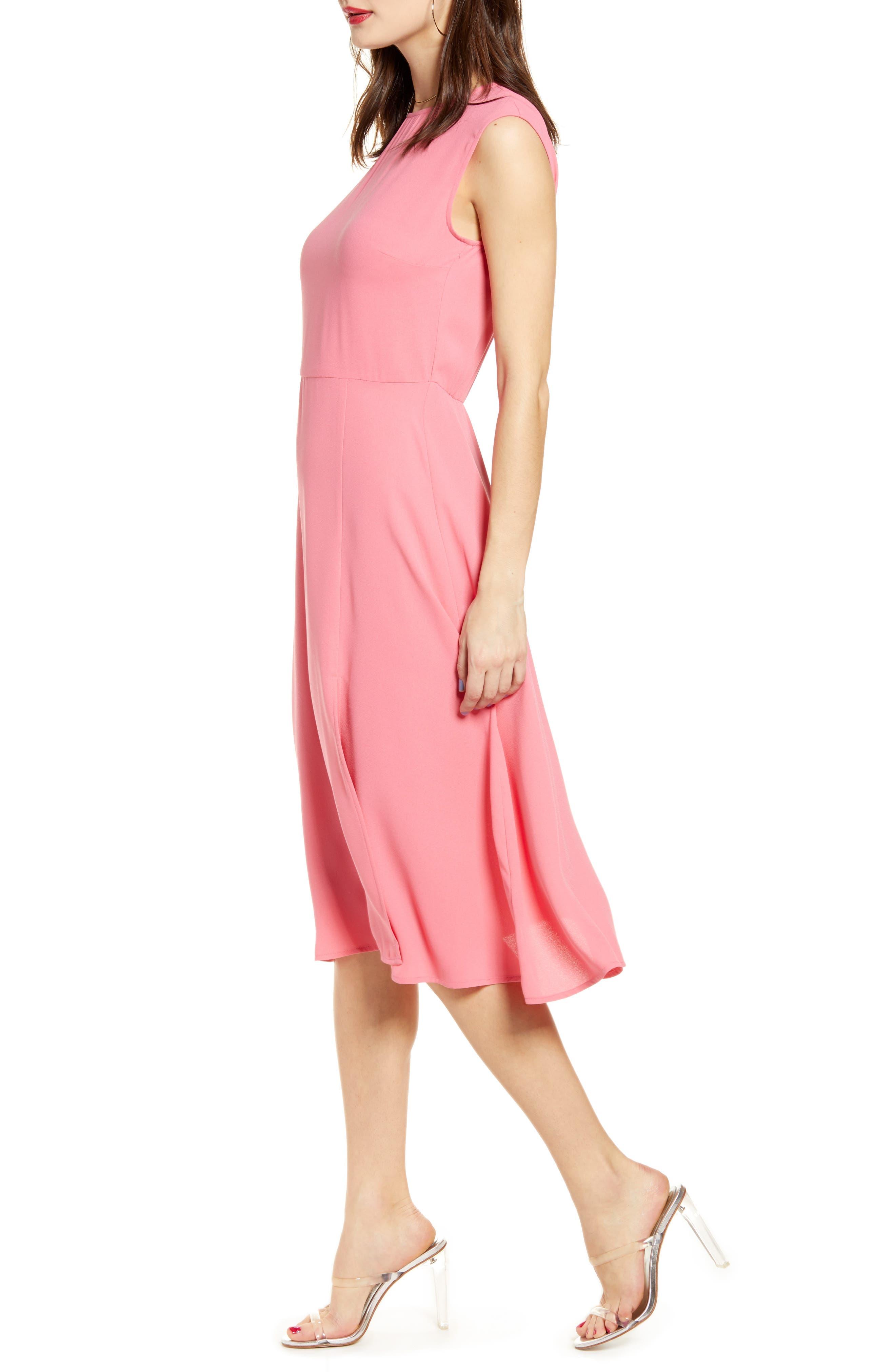 LEITH, Chic Midi Dress, Alternate thumbnail 4, color, PINK LEMONADE