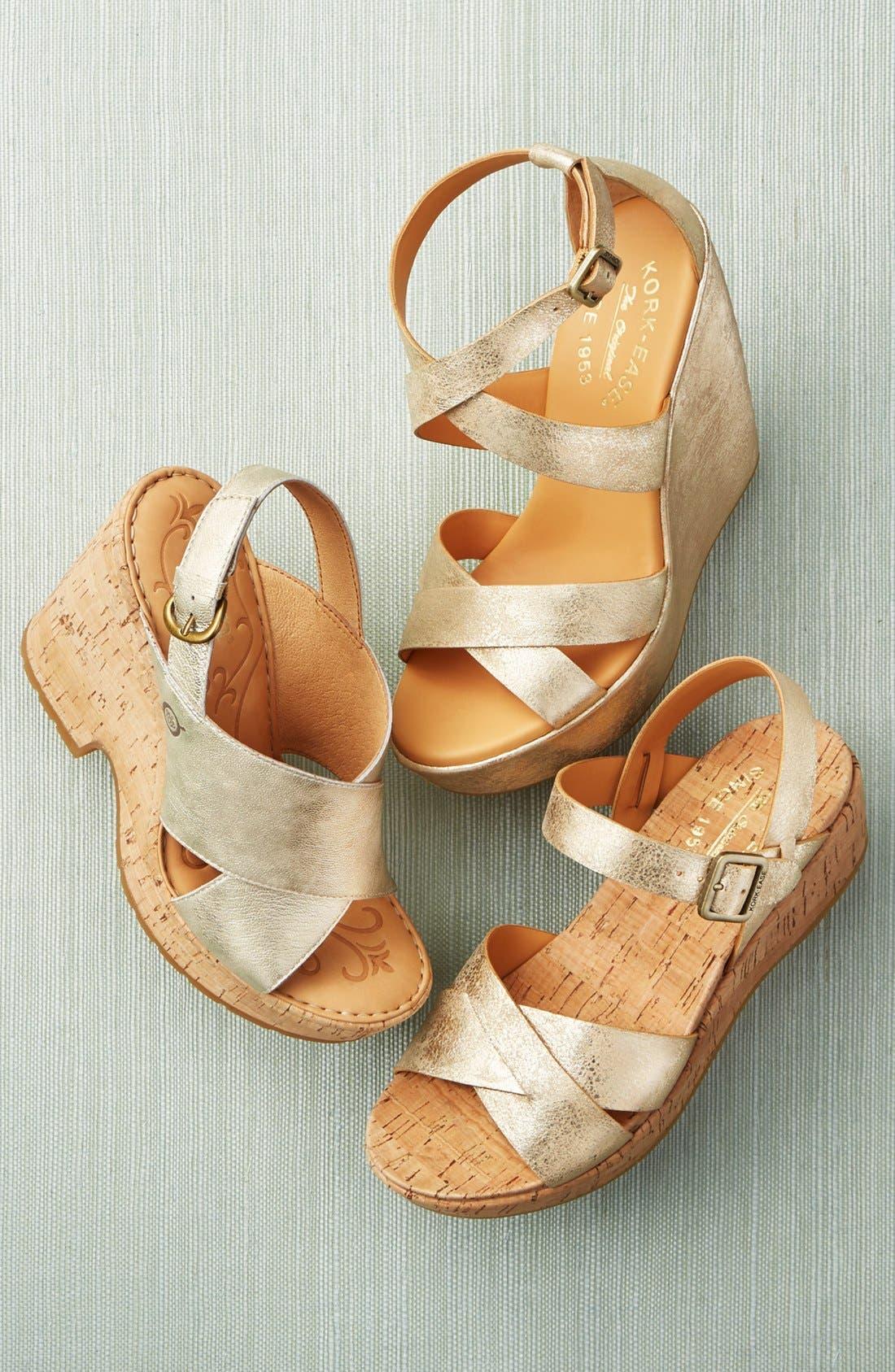 KORK-EASE<SUP>®</SUP>, 'Myrna 2.0' Cork Wedge Sandal, Alternate thumbnail 5, color, BLACK LEATHER
