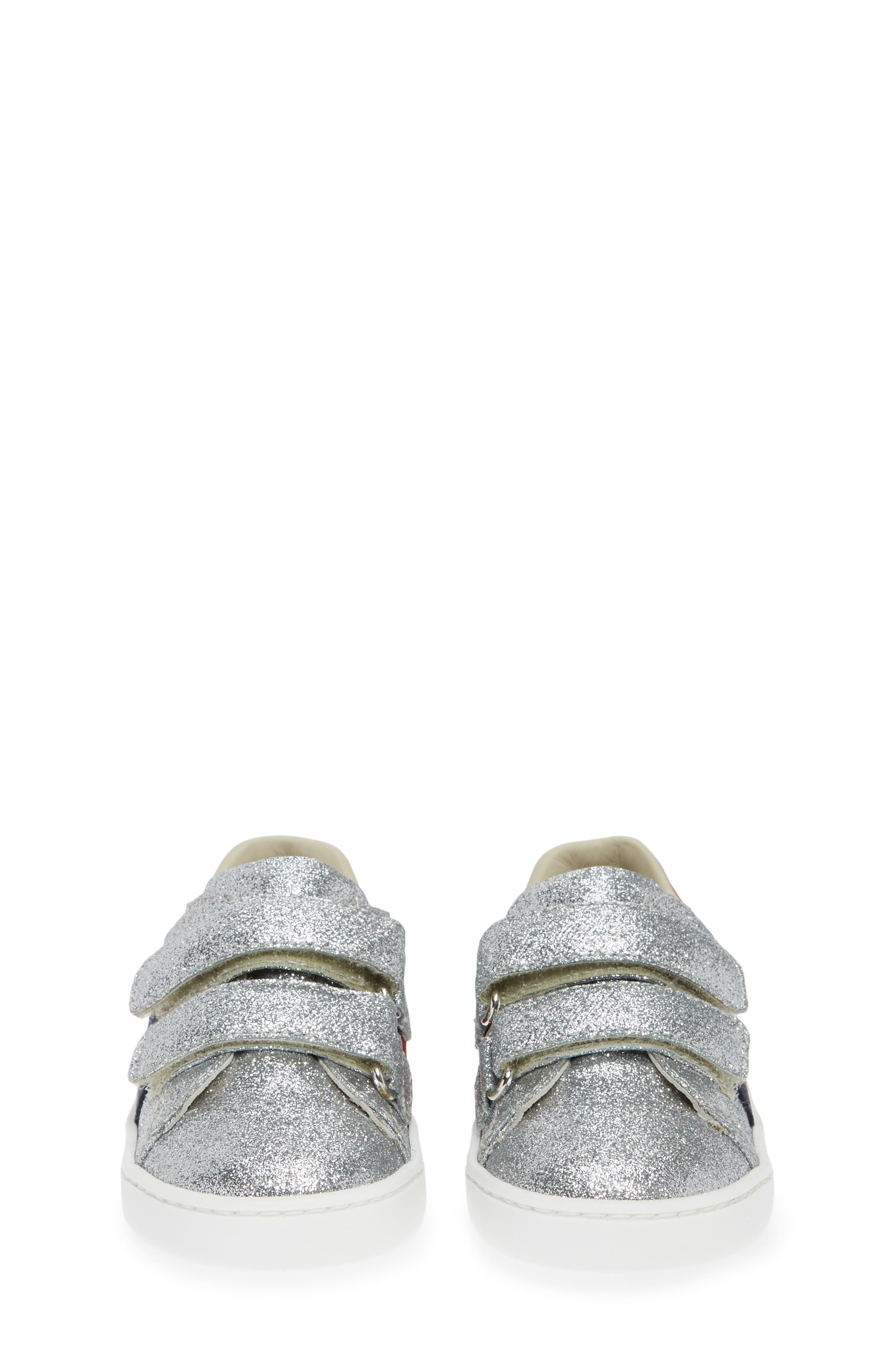 GUCCI, New Ace Sneaker, Alternate thumbnail 5, color, METALLIC SILVER