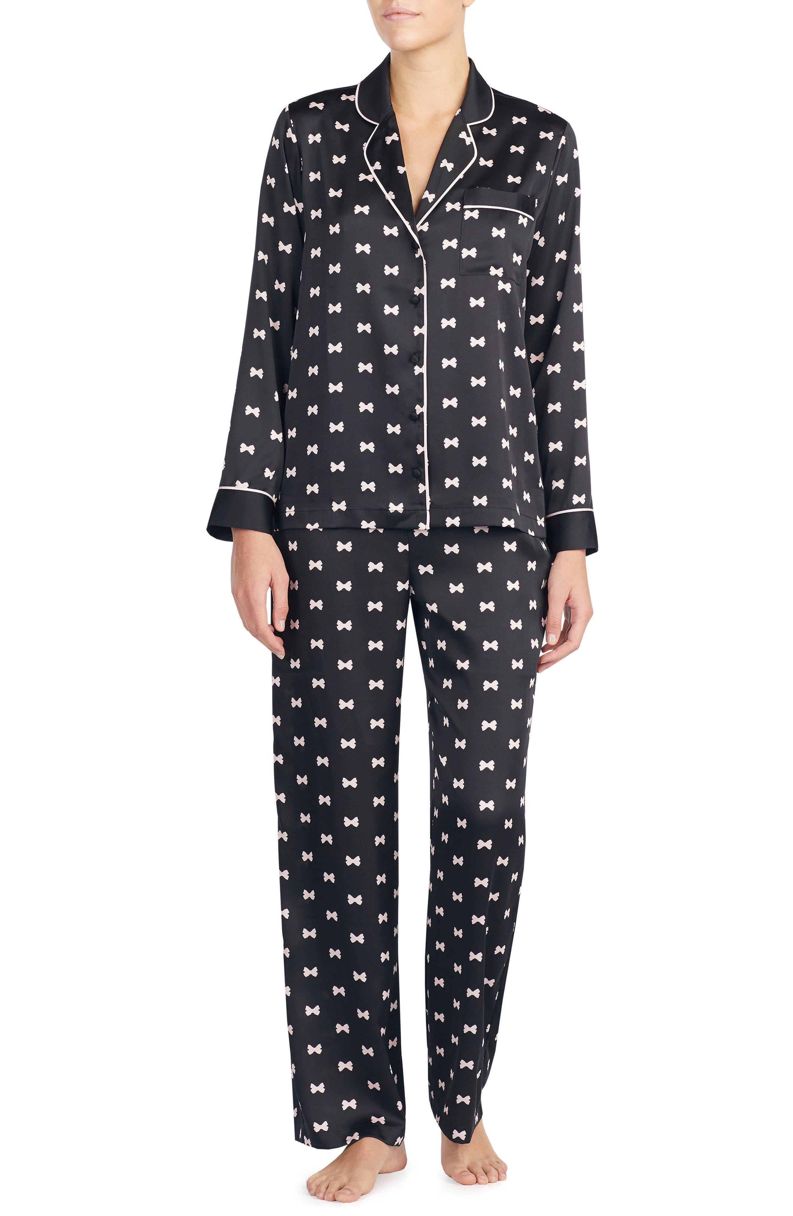 KATE SPADE NEW YORK, print charmeuse pajamas, Main thumbnail 1, color, BOWS