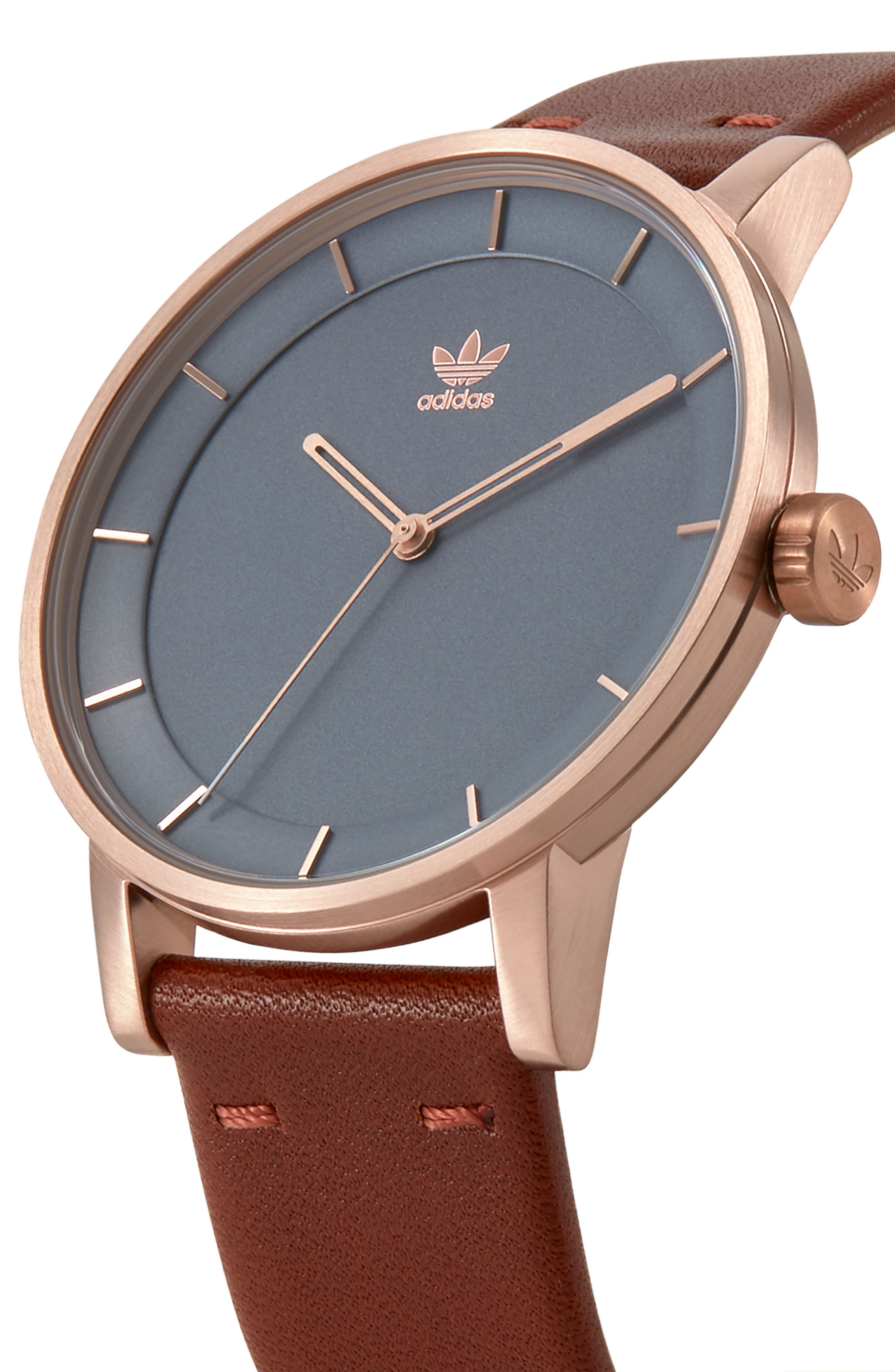 ADIDAS, District Leather Strap Watch, 40mm, Alternate thumbnail 3, color, SADDLE/ SLATE/ ROSE GOLD