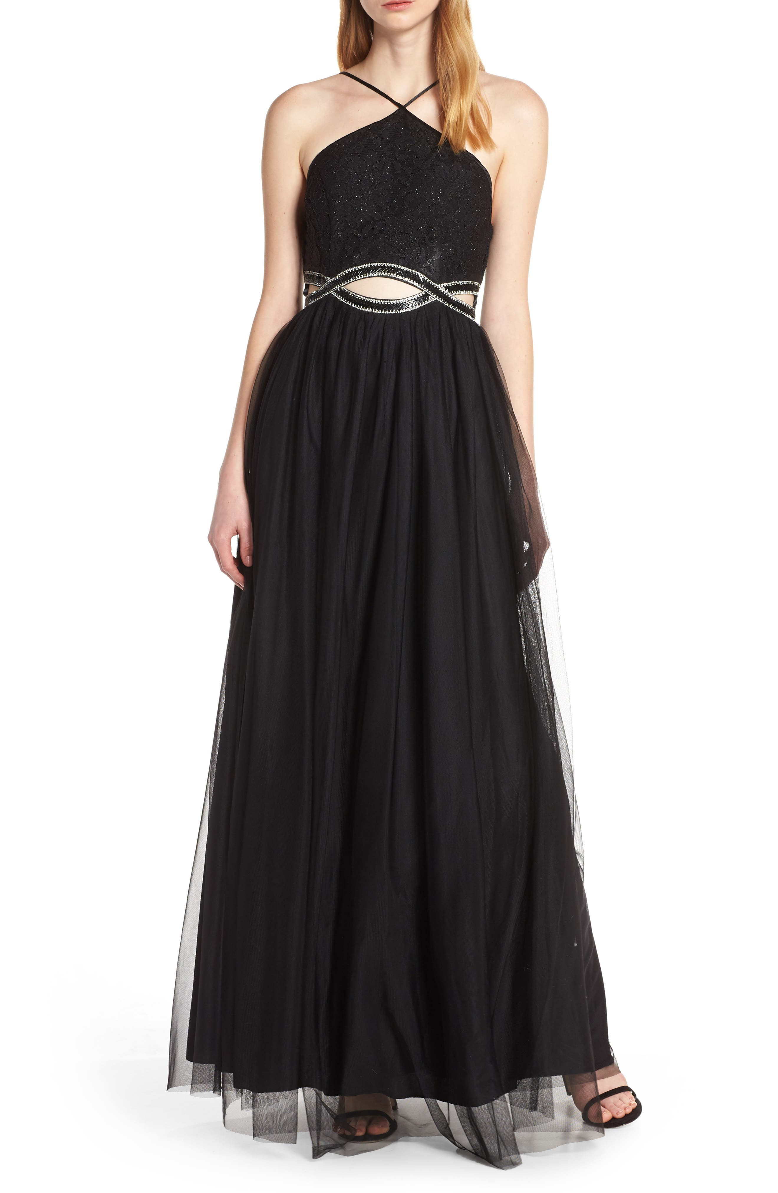 Sequin Hearts Lace & Tulle Evening Dress, Black
