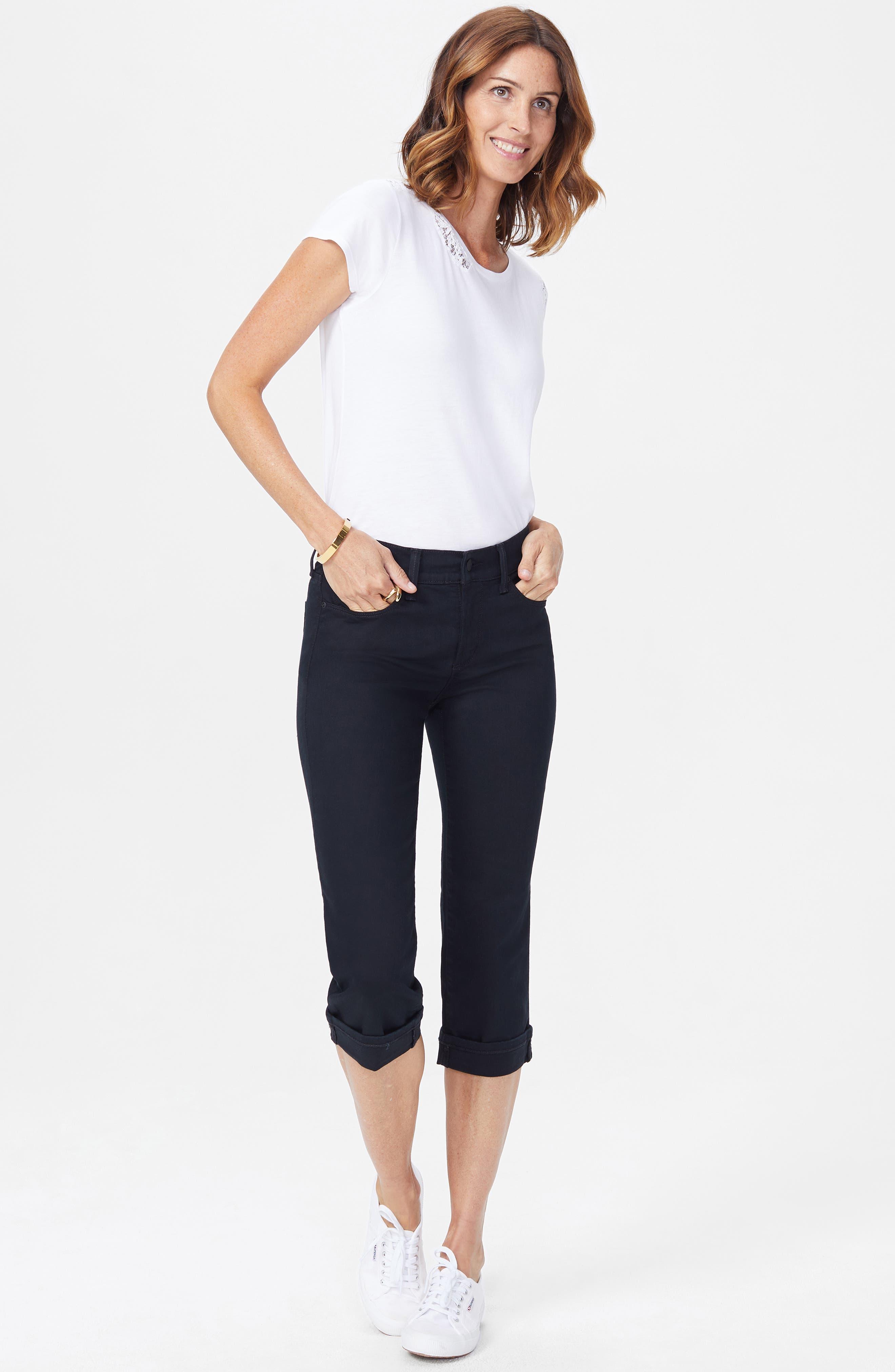NYDJ, Marilyn Crop Jeans, Alternate thumbnail 6, color, BLACK