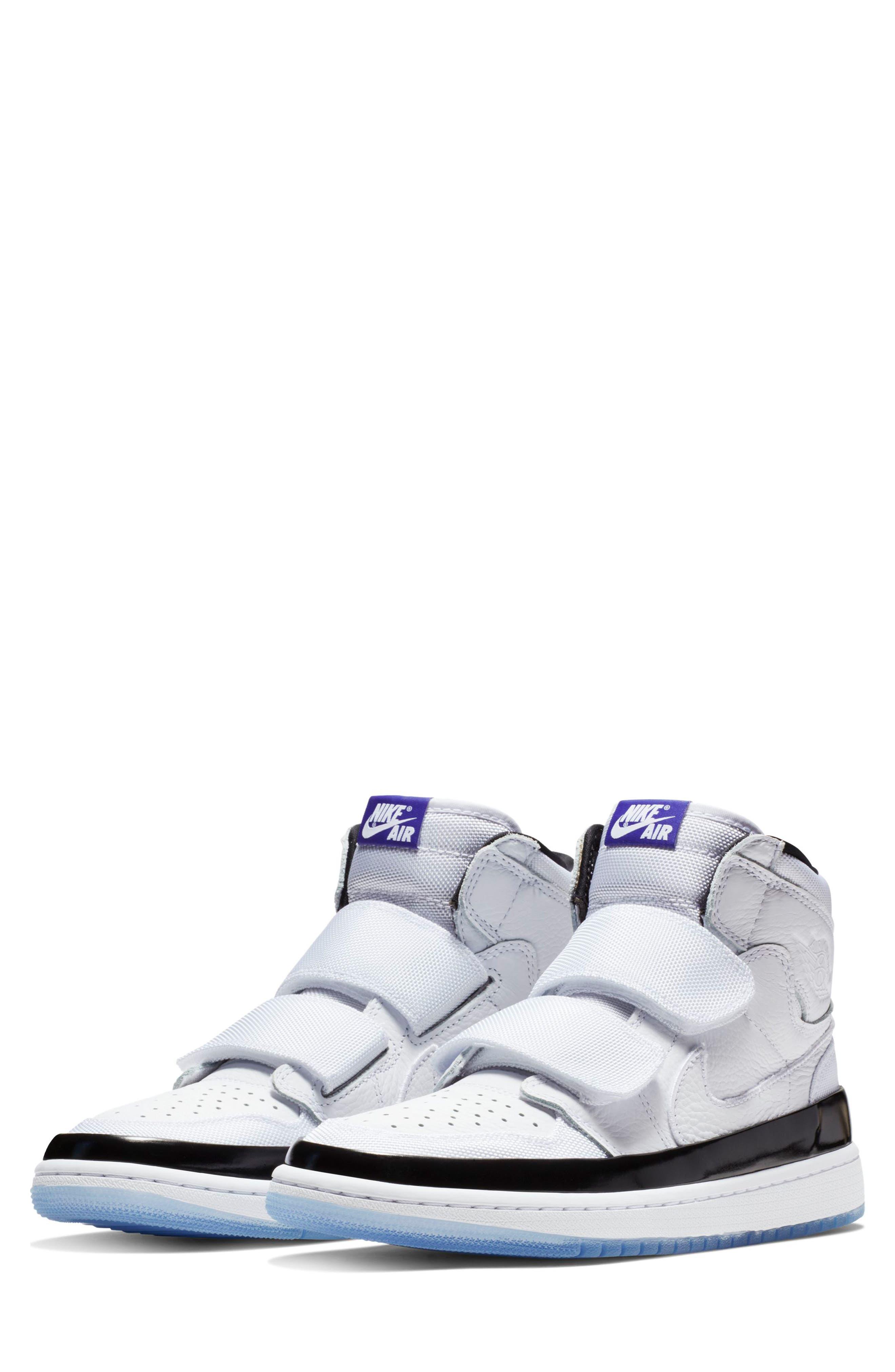 NIKE, Air Jordan 1 Retro High Double Strap Sneaker, Main thumbnail 1, color, WHITE/ DARK CONCORD/ BLACK