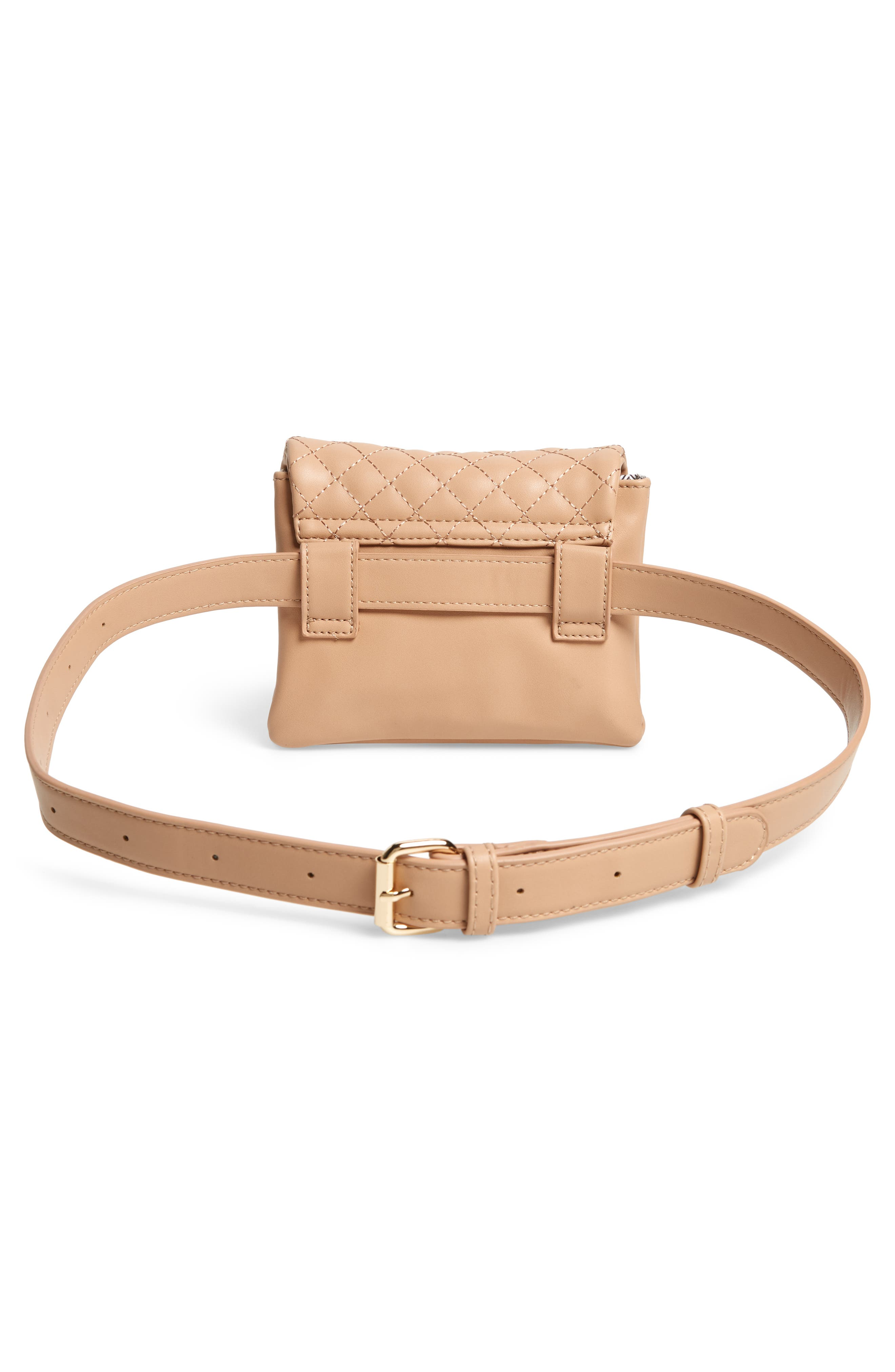 MALI + LILI, Quilted Vegan Leather Belt Bag, Alternate thumbnail 6, color, CAMEL