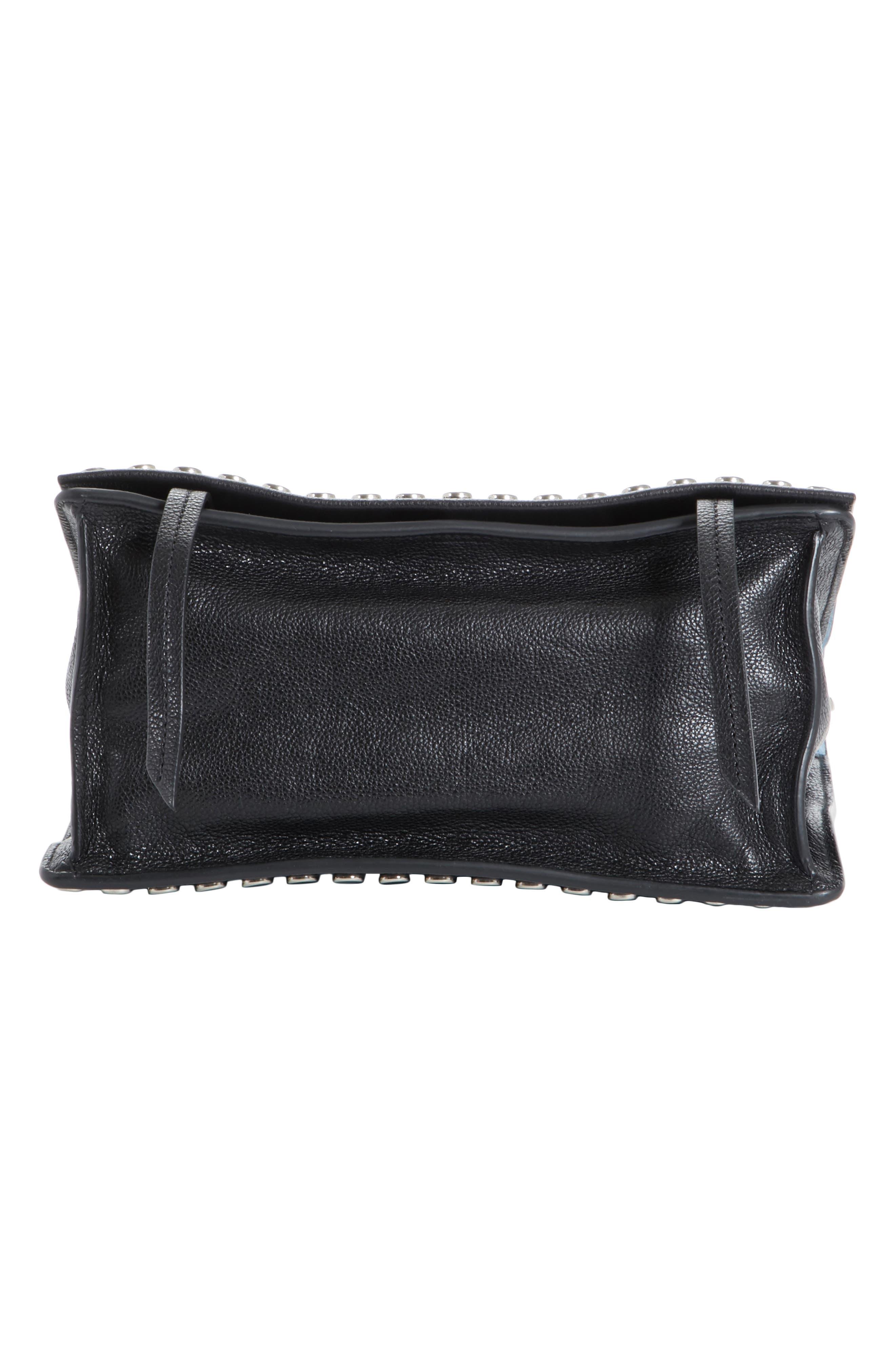 PRADA, Small Stud Etiquette Shoulder Bag, Alternate thumbnail 5, color, NERO/ ASTRALE