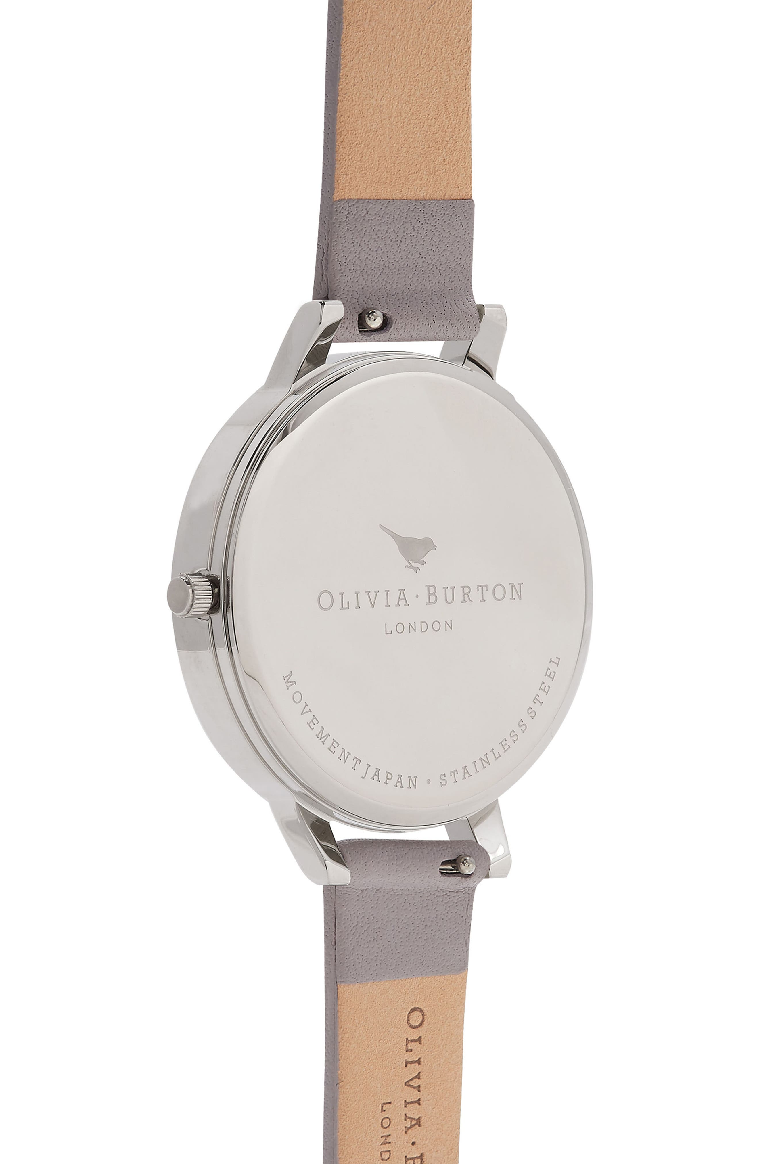 OLIVIA BURTON, Watercolour Florals Leather Strap Watch, 38mm, Alternate thumbnail 3, color, GREY/ WHITE/ FLORAL/ SILVER