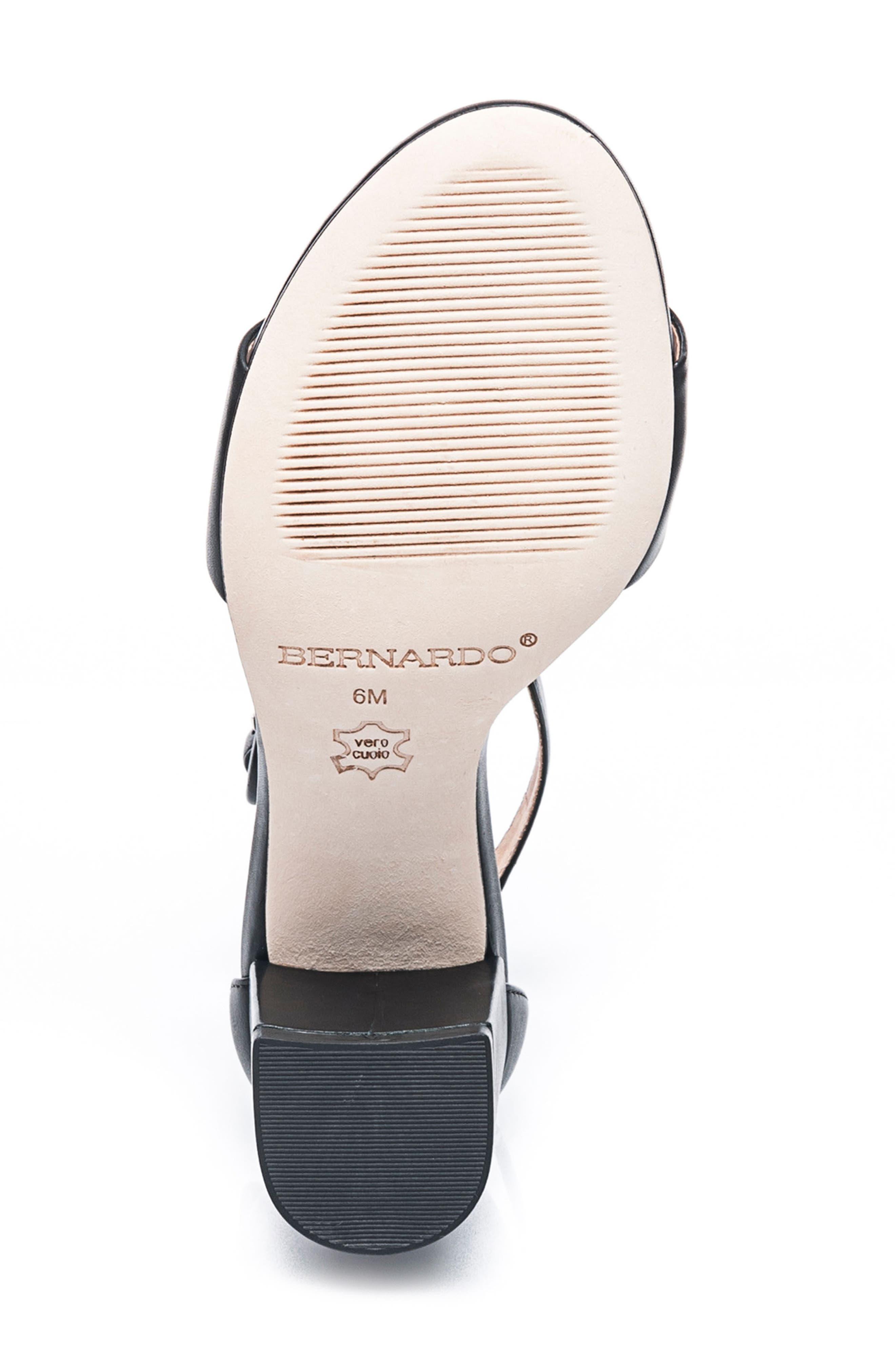 BERNARDO, Belinda Ankle Strap Sandal, Alternate thumbnail 6, color, BLACK LEATHER