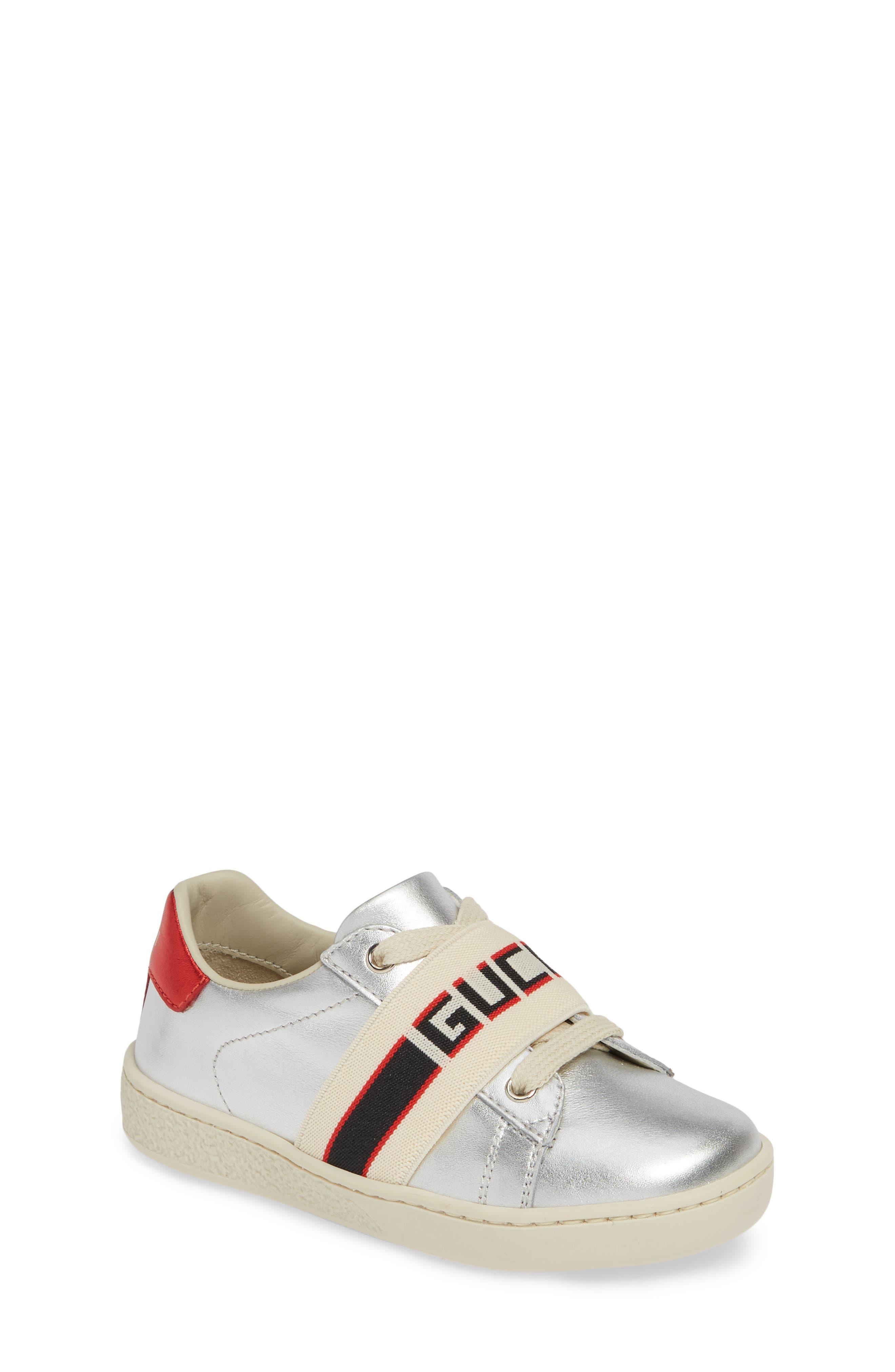 GUCCI, New Ace Stripe Sneaker, Main thumbnail 1, color, SILVER