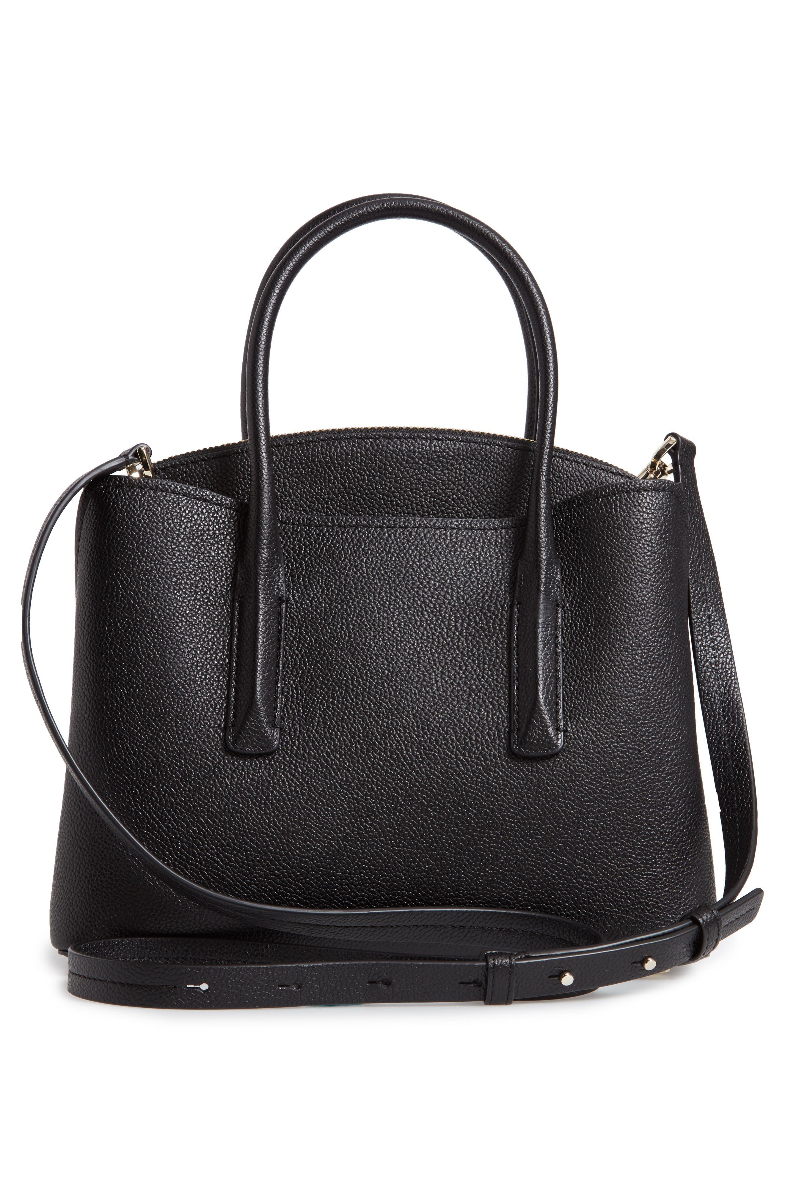 KATE SPADE NEW YORK, medium margaux leather satchel, Alternate thumbnail 4, color, BLACK
