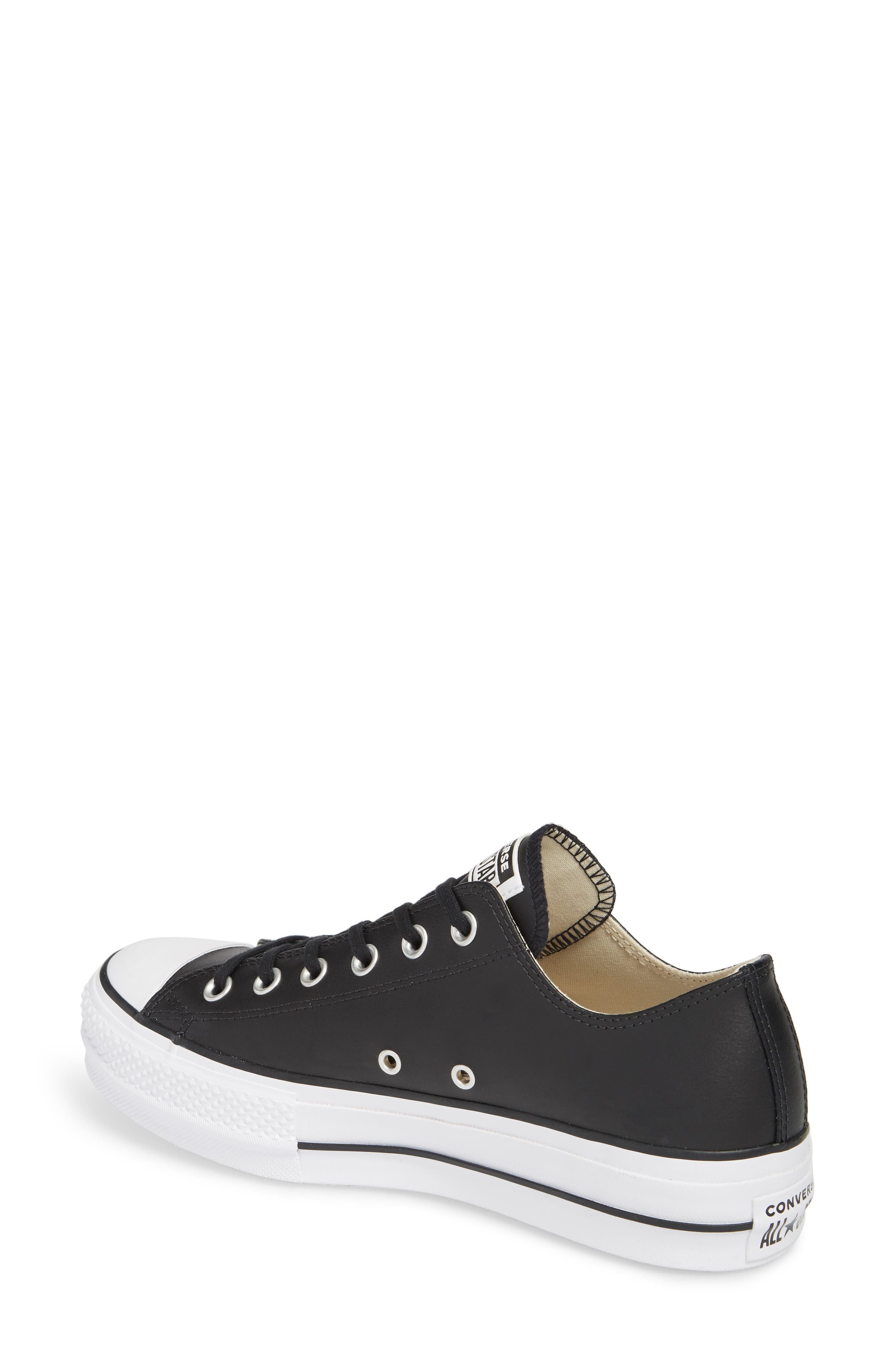 CONVERSE, Chuck Taylor<sup>®</sup> All Star<sup>®</sup> Platform Sneaker, Alternate thumbnail 2, color, BLACK/ BLACK LEATHER
