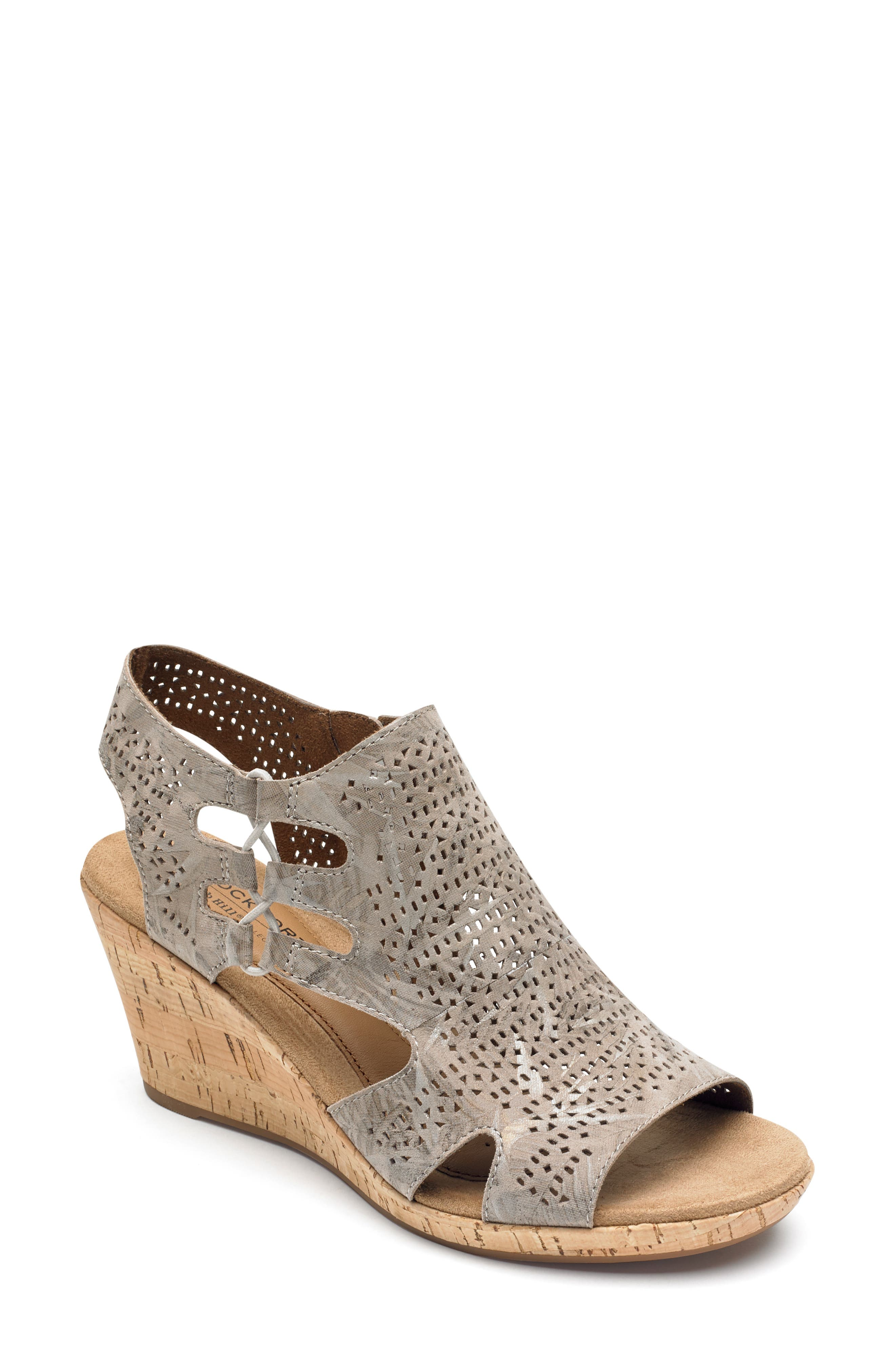 ROCKPORT COBB HILL, Janna Perforated Wedge Sandal, Main thumbnail 1, color, FLORAL METALLIC LEATHER