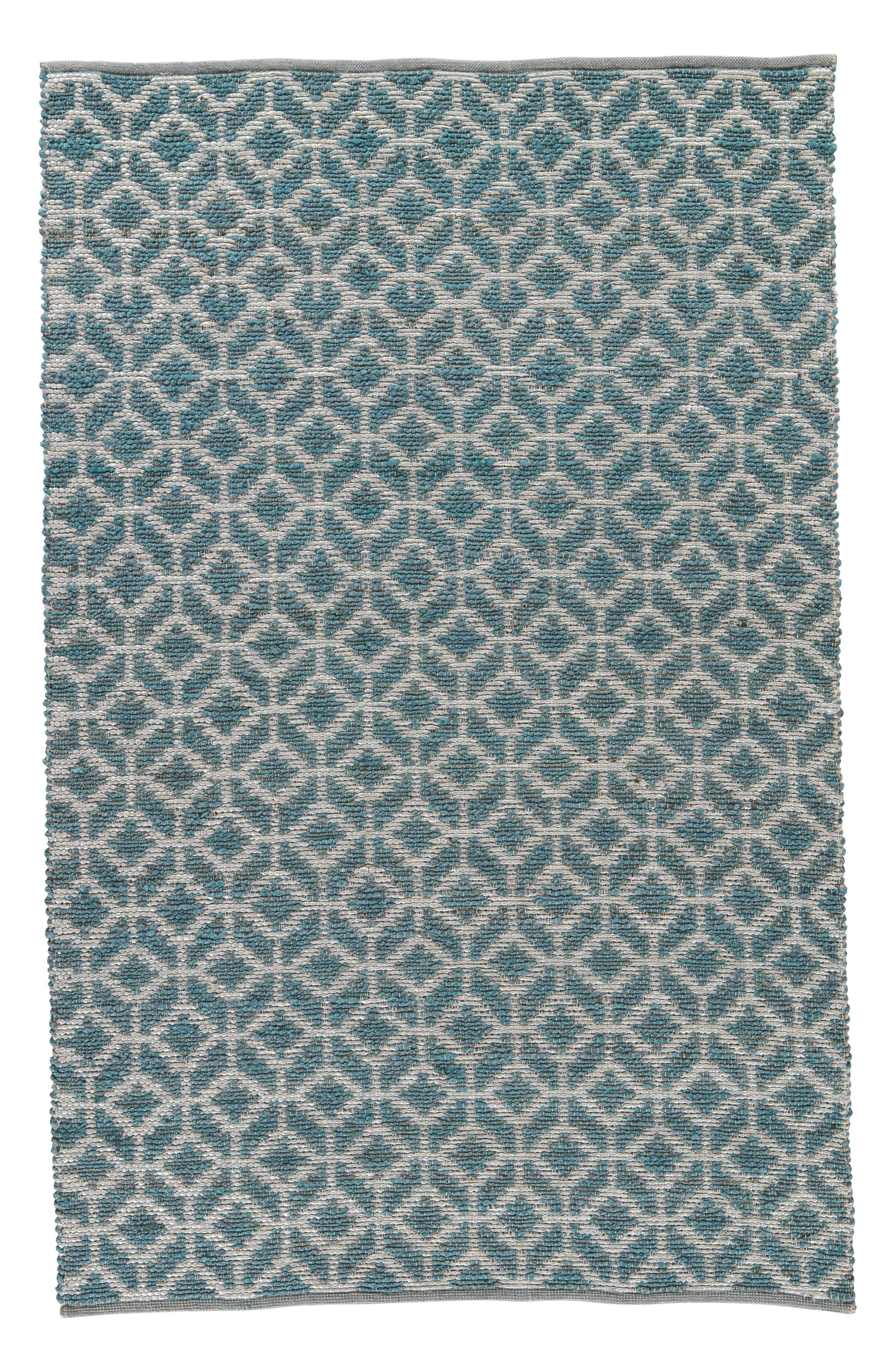 JAIPUR Calm Waters Rug, Main, color, INDIAN TEAL/ SILVER