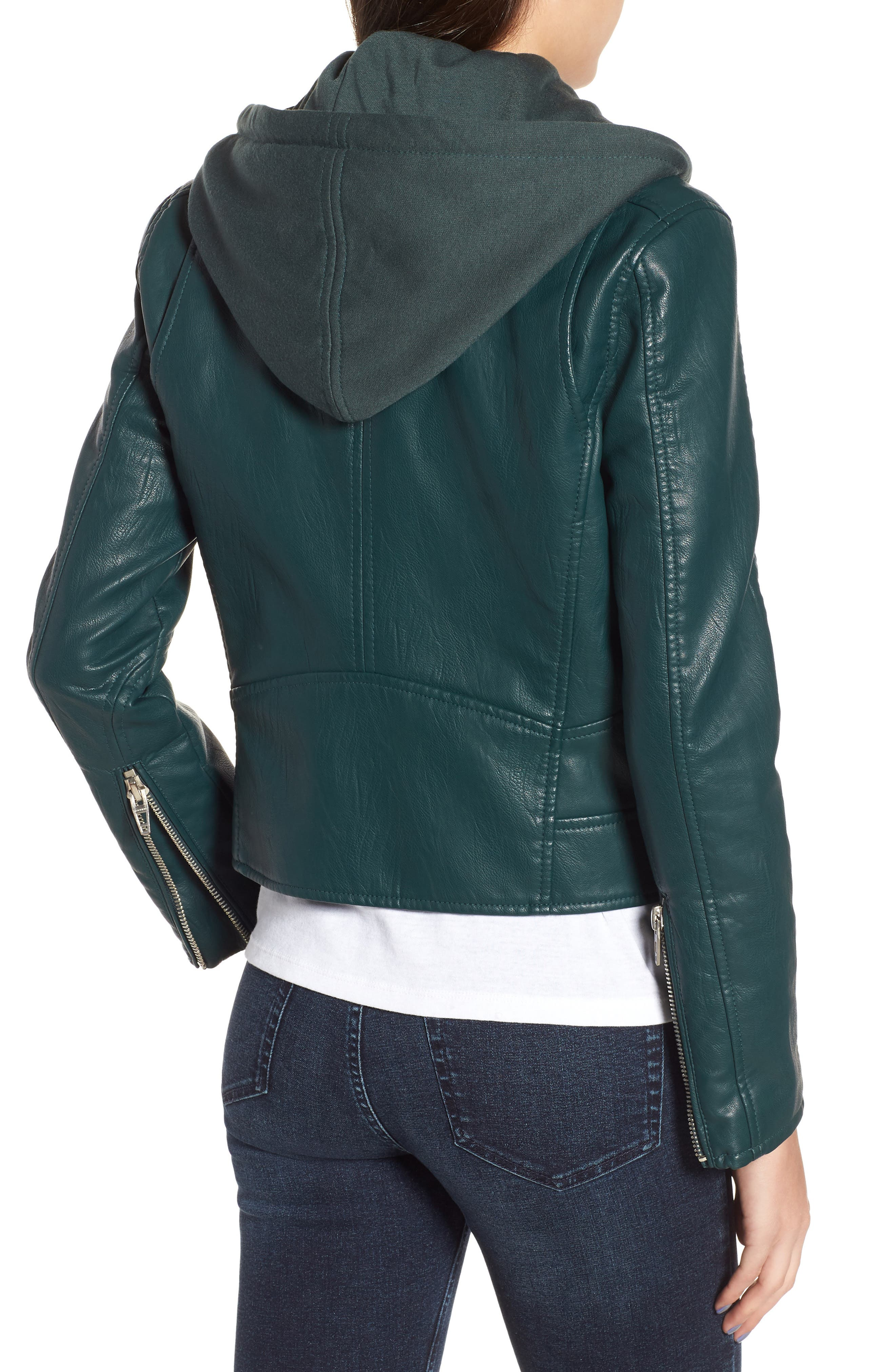 BLANKNYC, Meant to Be Moto Jacket with Removable Hood, Alternate thumbnail 2, color, EVERGREEN