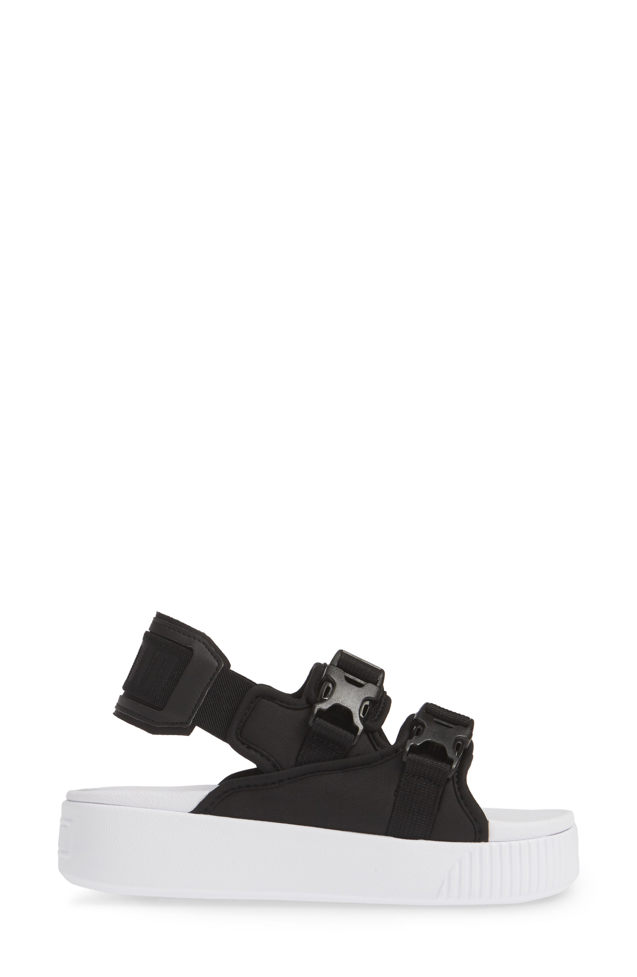 PUMA, Platform Slide YLM 19 Sandal, Alternate thumbnail 3, color, BLACK/ WHITE