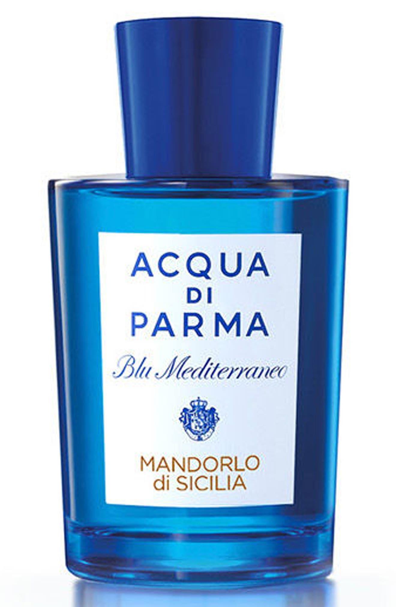 ACQUA DI PARMA, 'Blu Mediterraneo' Mandorlo di Sicilia Eau de Toilette Spray, Alternate thumbnail 3, color, NO COLOR