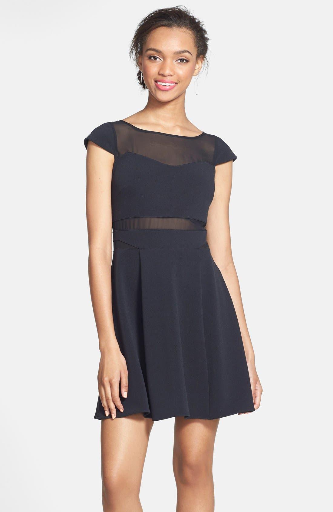 HAILEY LOGAN Mesh Inset Skater Dress, Main, color, 001