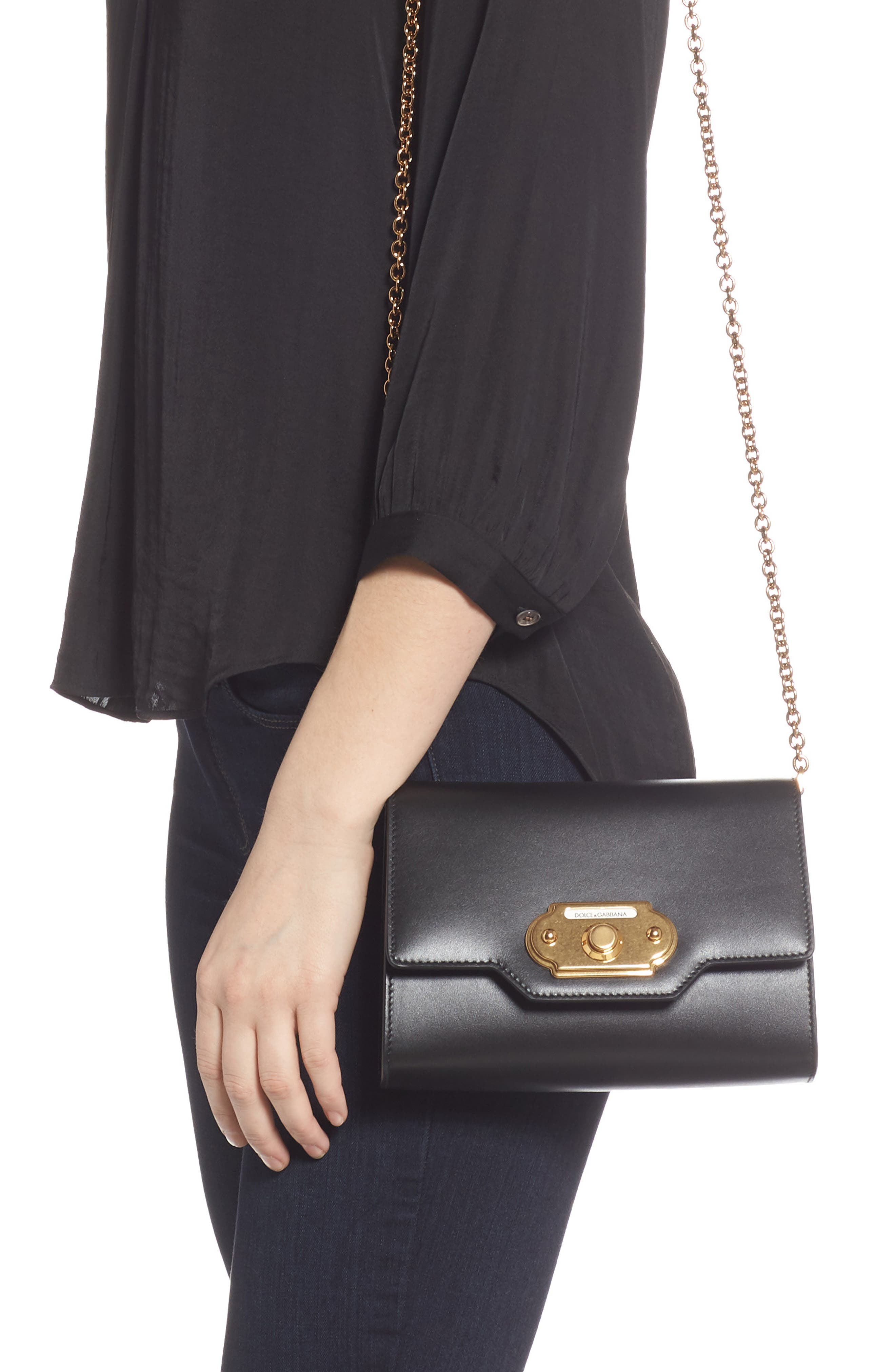 DOLCE&GABBANA, Leather Clutch, Alternate thumbnail 2, color, NERO