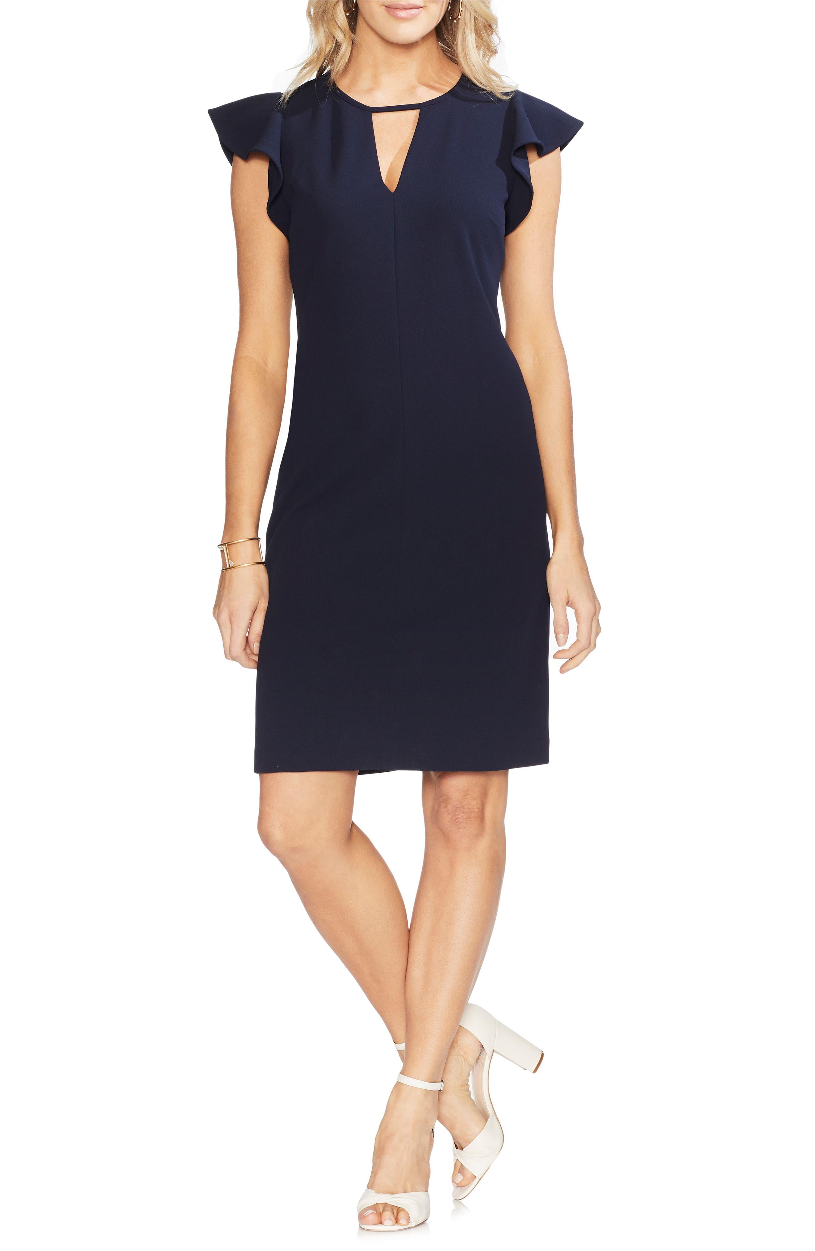 VINCE CAMUTO Flutter Sleeve Sheath Dress, Main, color, 407