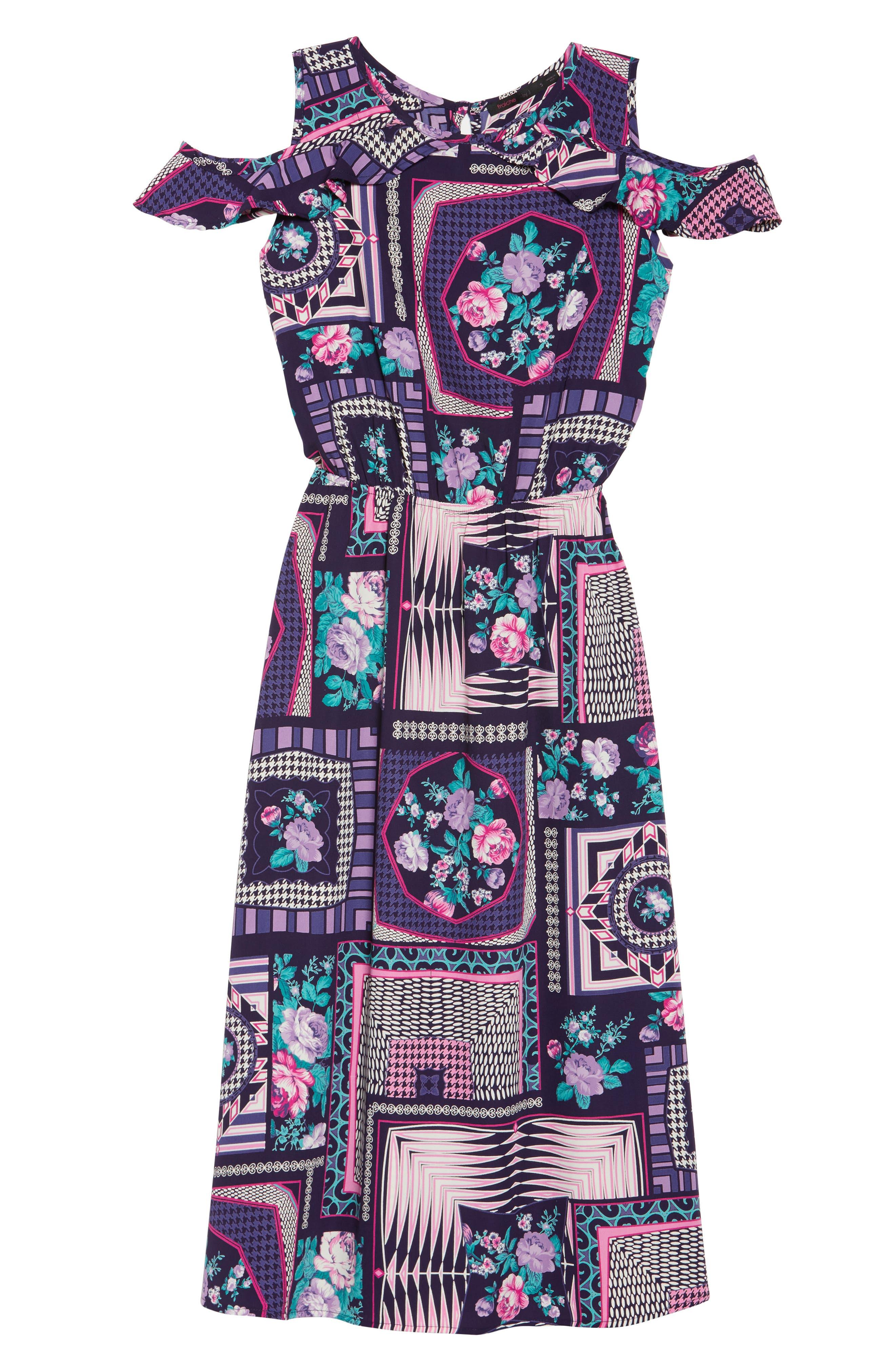 FRAICHE BY J, Ruffle Cold Shoulder Dress, Alternate thumbnail 6, color, CASSIE