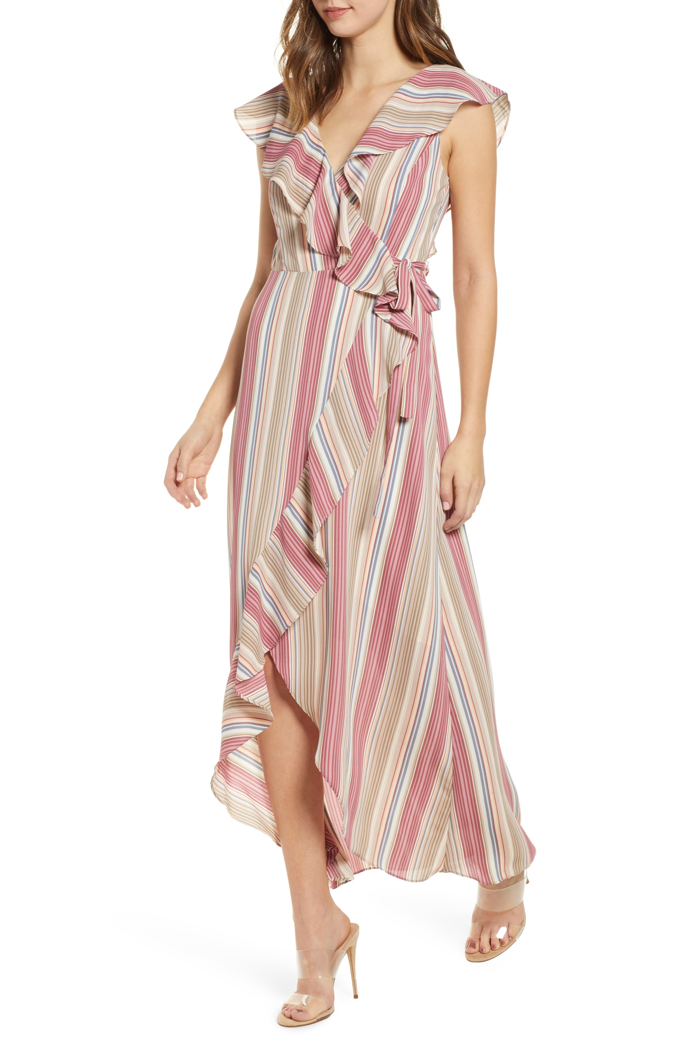 LEITH Ruffle Wrap Maxi Dress, Main, color, PINK CANYON TONAL STRIPE
