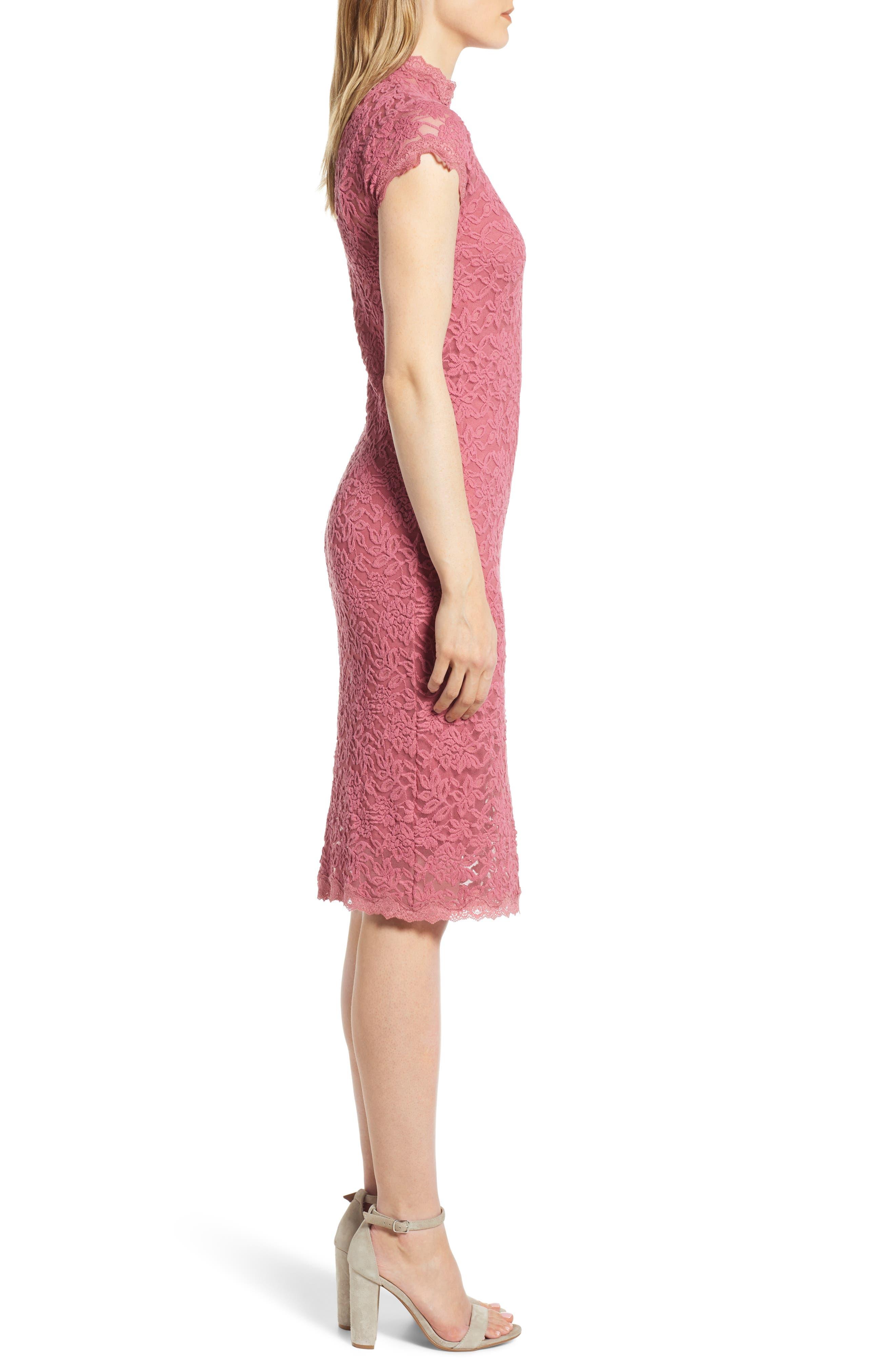 ROSEMUNDE, Delicia Lace Body-Con Dress, Alternate thumbnail 4, color, ROSEWINE 356
